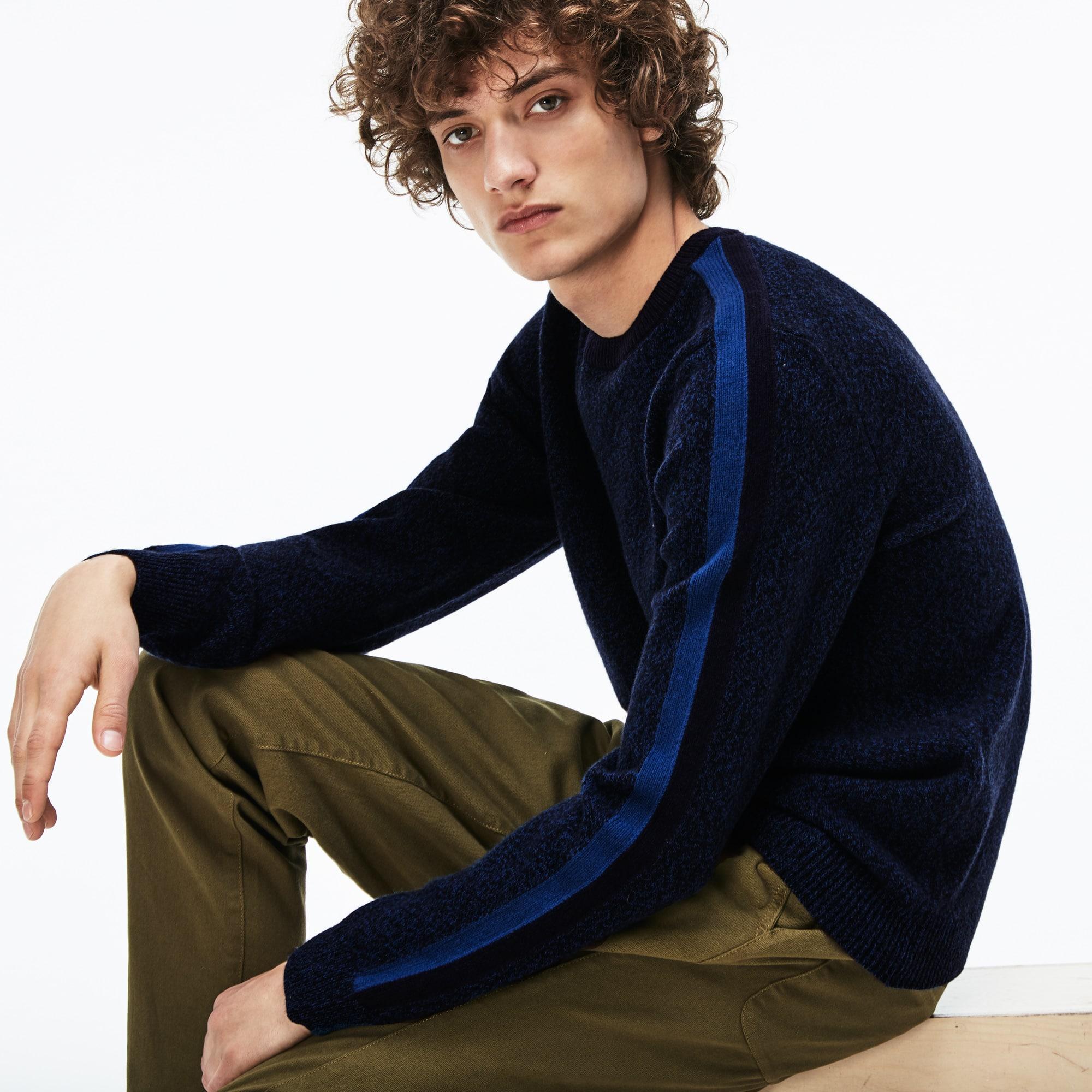 Herren MADE IN FRANCE Pullover mit Kontrast-Streifen