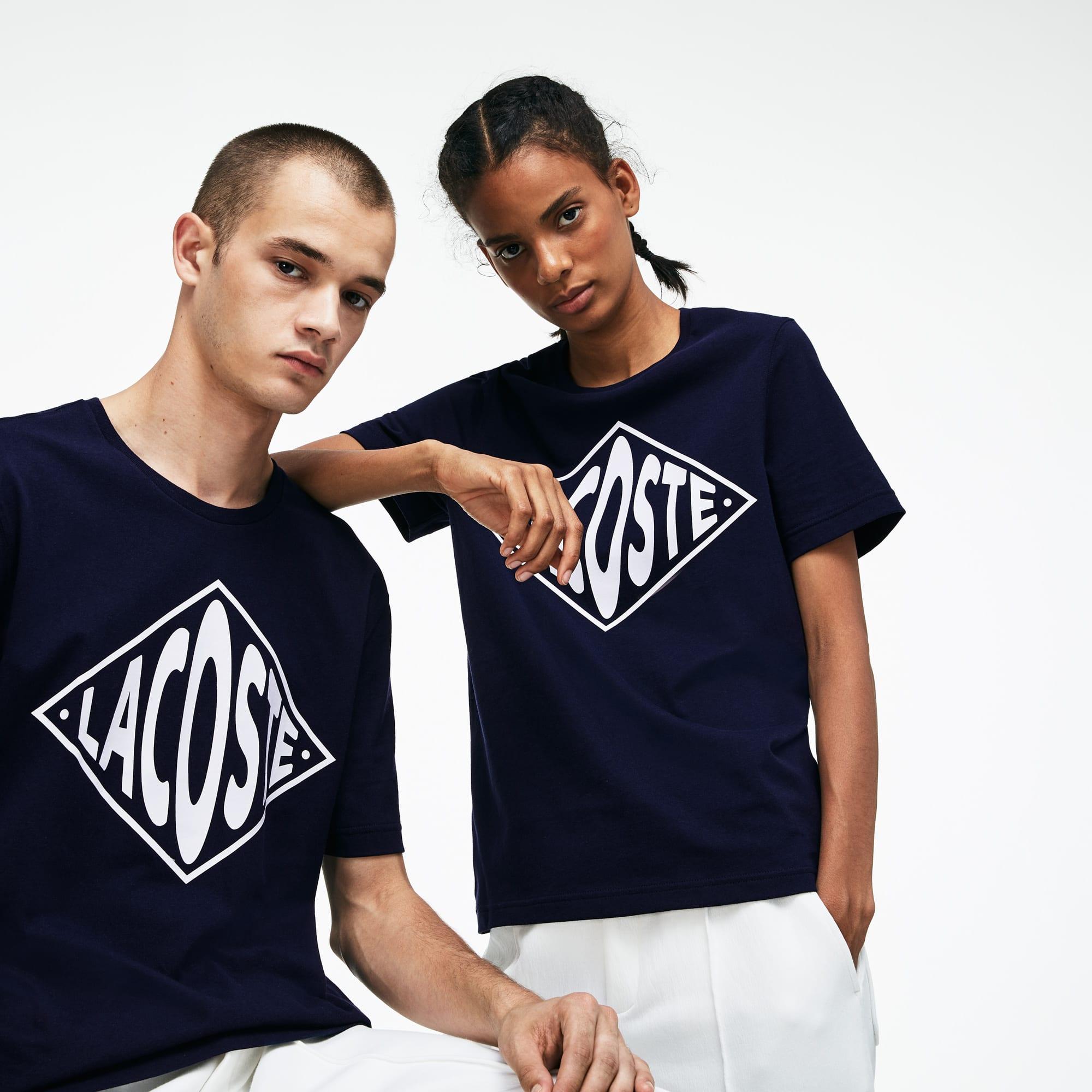 Unisex-Rundhals-T-Shirt aus Jersey mit großem Logo LACOSTE L!VE