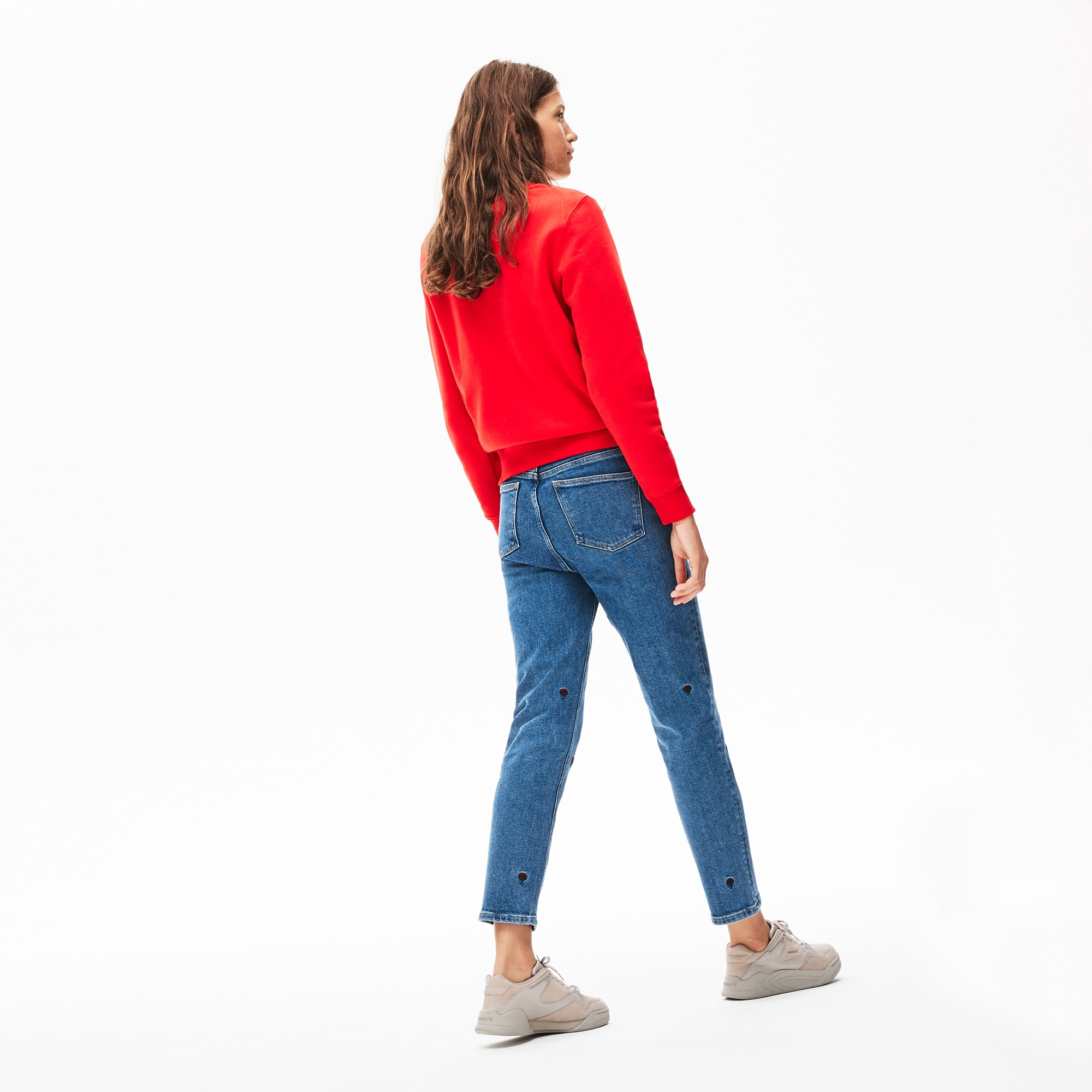 Damen Stretch-Baumwoll-Jeans mit Stickerei LACOSTE L!VE