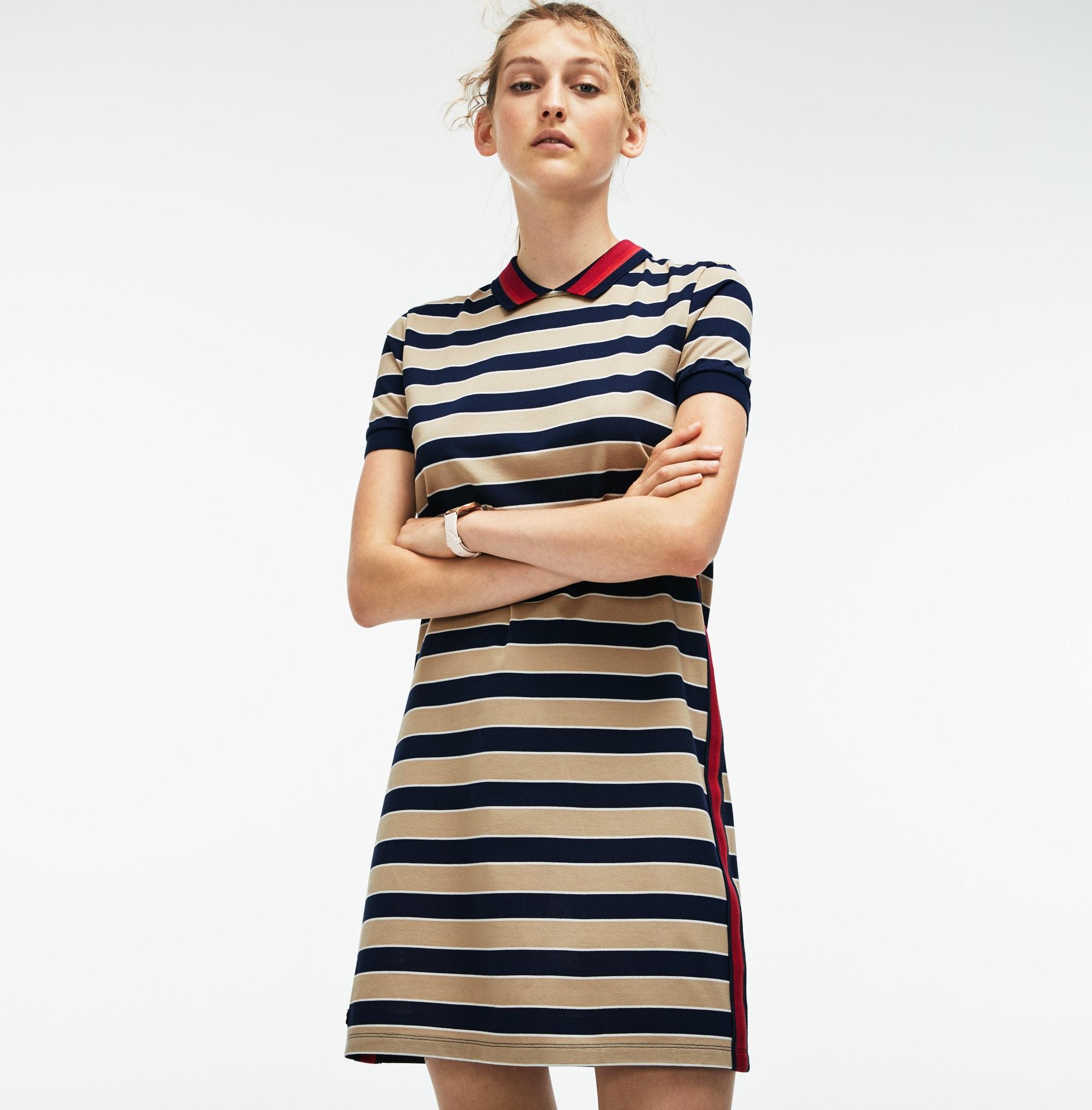 Damen-Polokleid mit Kontraststreifen aus Piqué