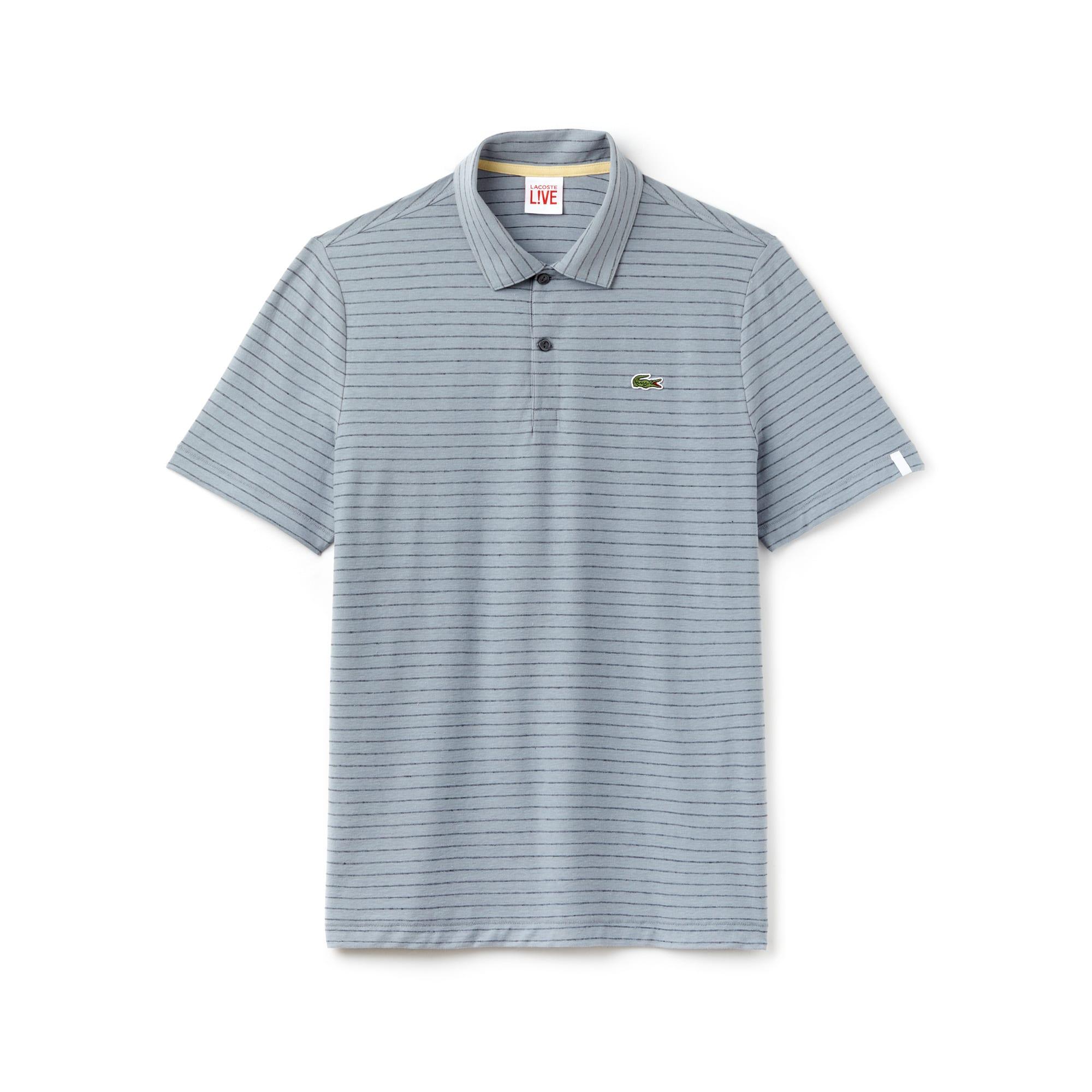 Slim Fit Herren-Poloshirt aus Baumwolle und Leinen LACOSTE L!VE