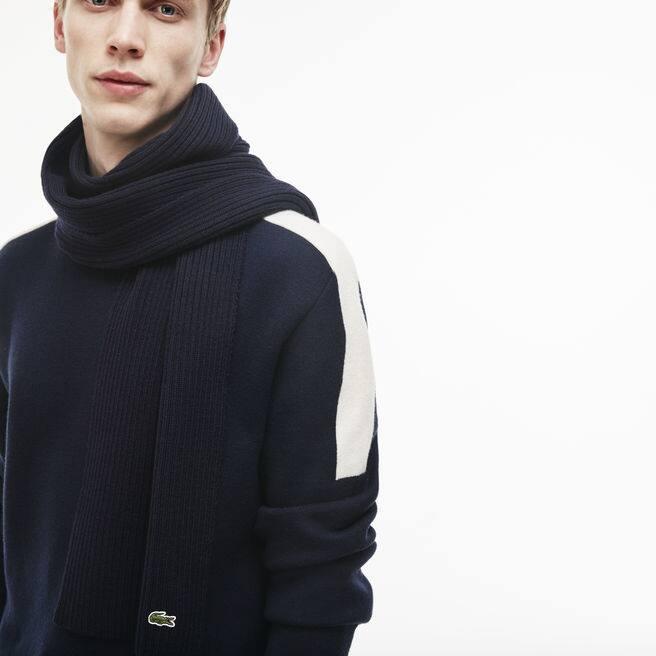 Herren-Schal aus gerippter Wolle