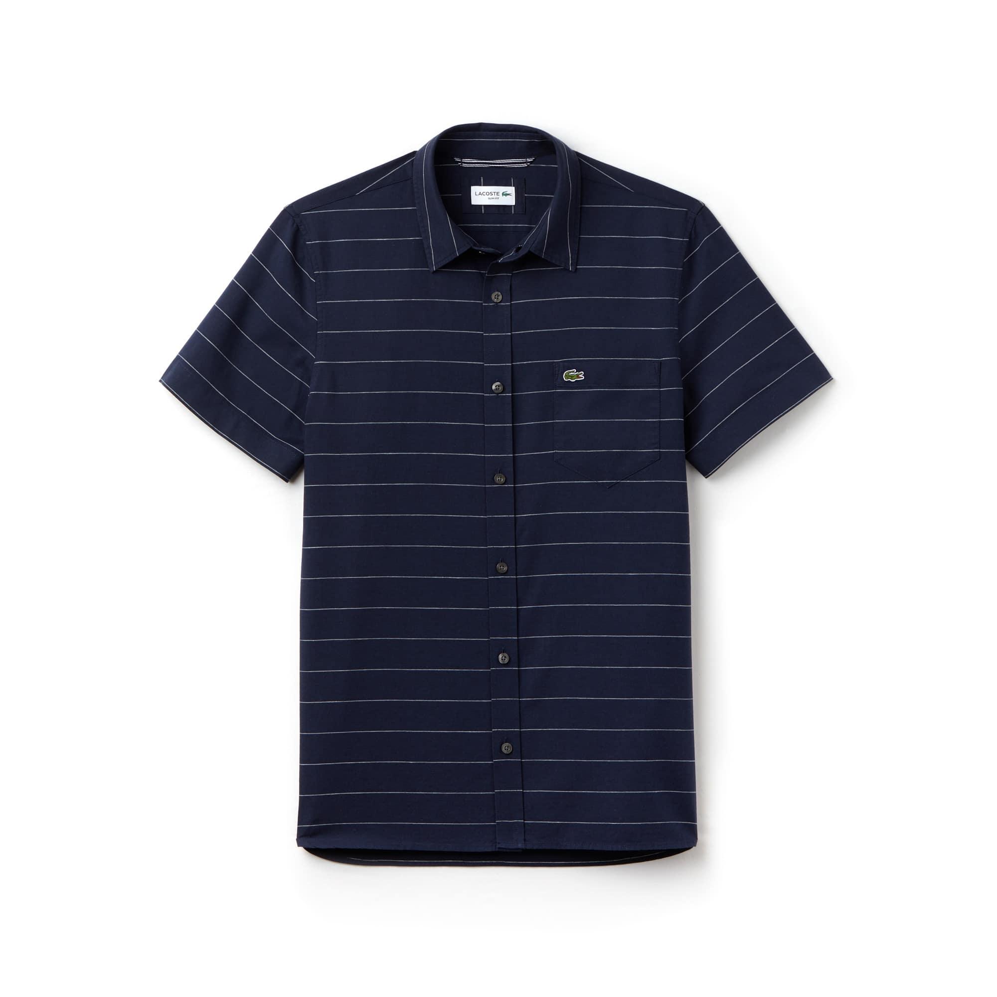 Slim Fit Herren-Hemd aus Oxford-Baumwolle und Leinen mit Streifen