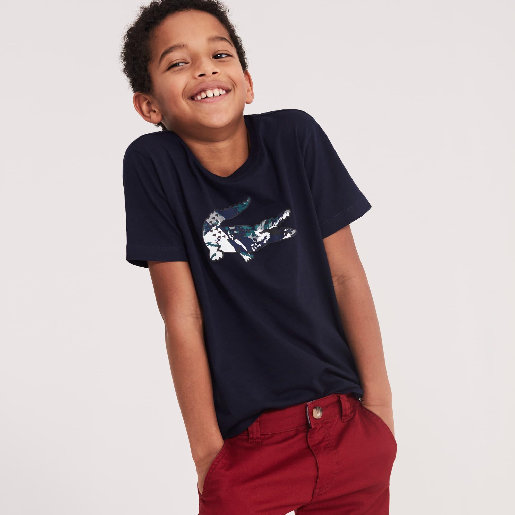 Jungen T-Shirt aus Baumwolljersey mit großem Krokodil