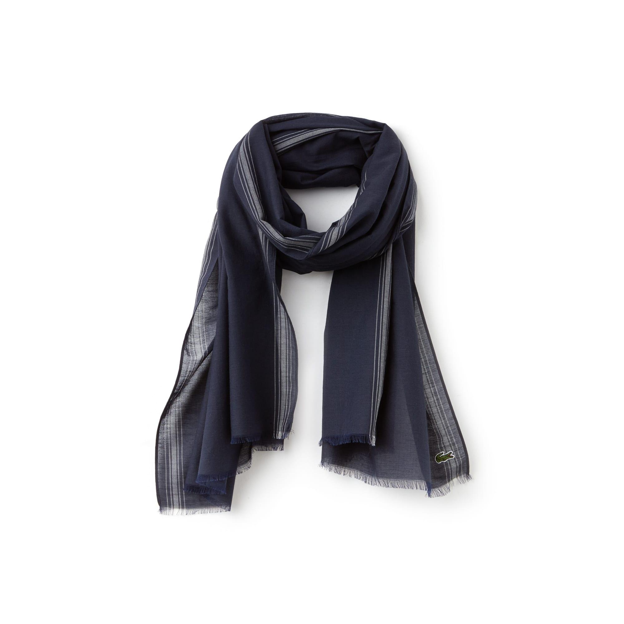 Herren-Schal aus Baumwoll-Voile mit Streifen
