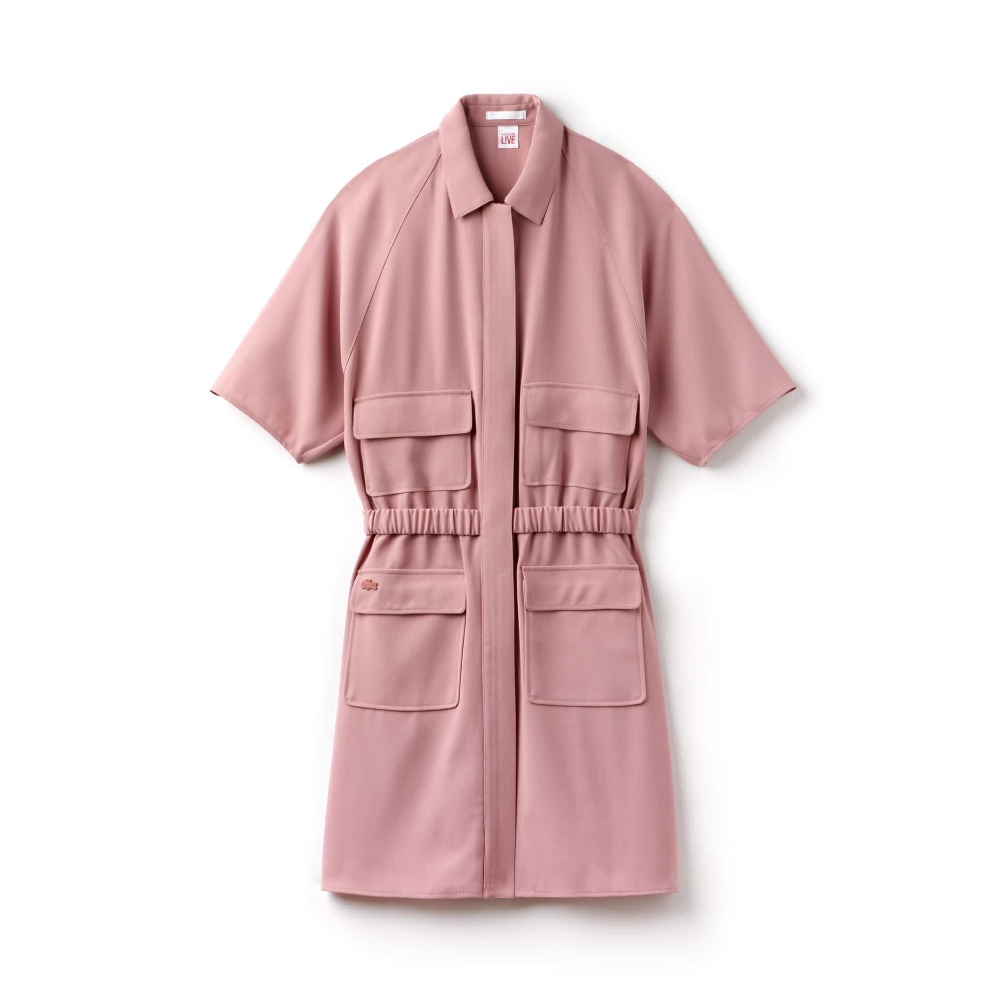 Damen-Kleid aus Krepp mit Reißverschluss LACOSTE L!VE