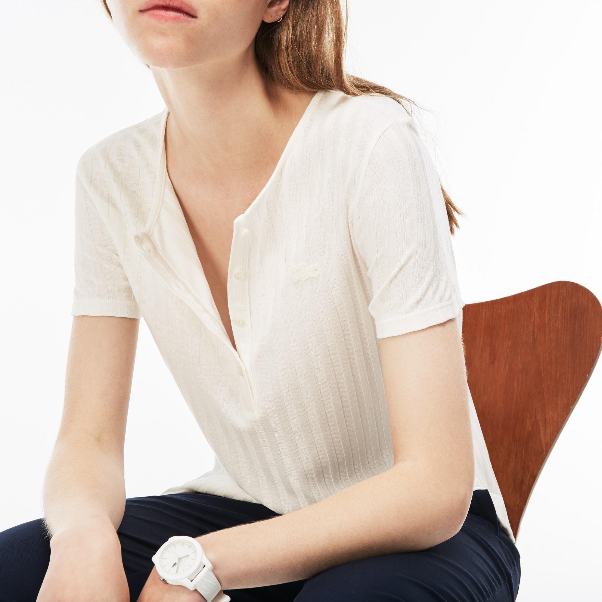 Damen-T-Shirt mit Henley-Kragen und Rippenmuster