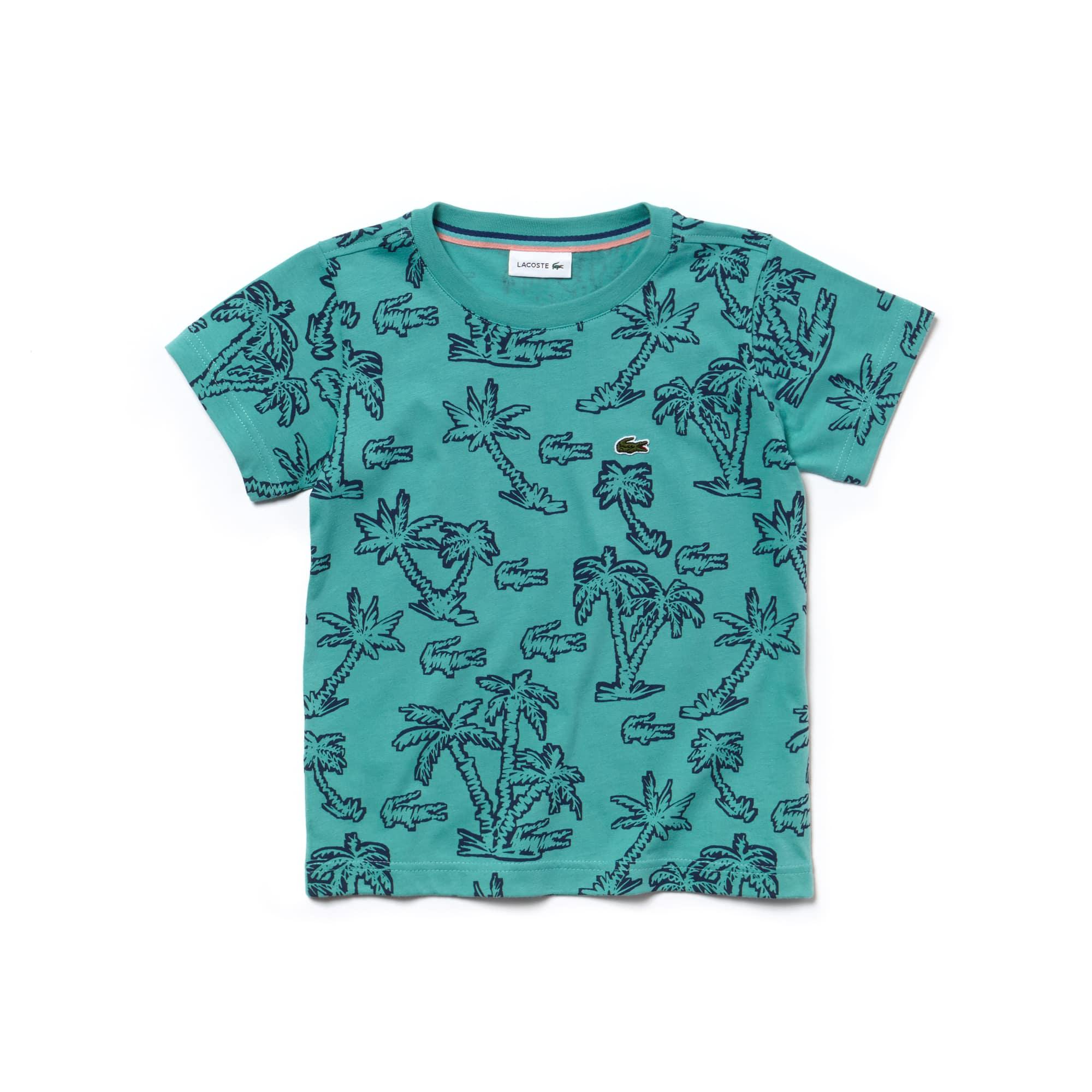 Jungen Rundhals T-Shirt aus Baumwolljersey mit Palmenprint