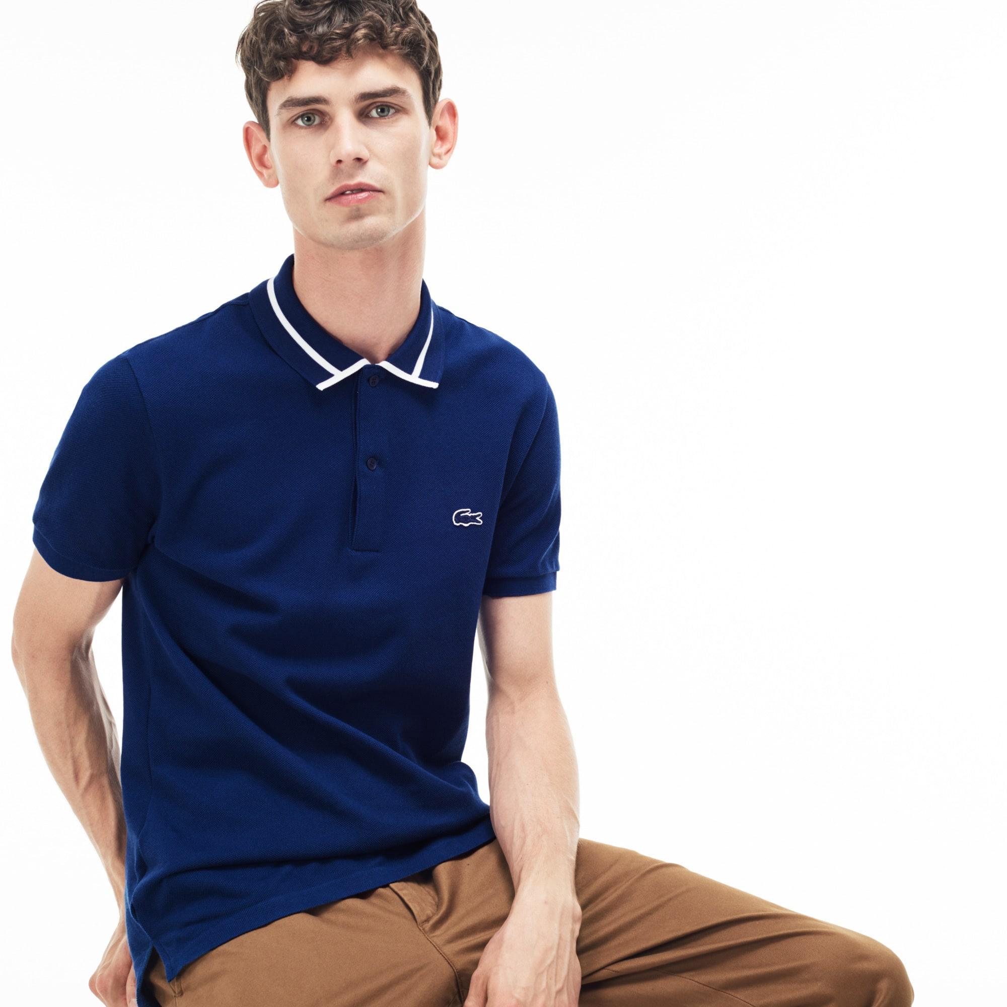 Slim Fit Herren-Poloshirt aus dickem Baumwoll-Piqué mit Paspeln