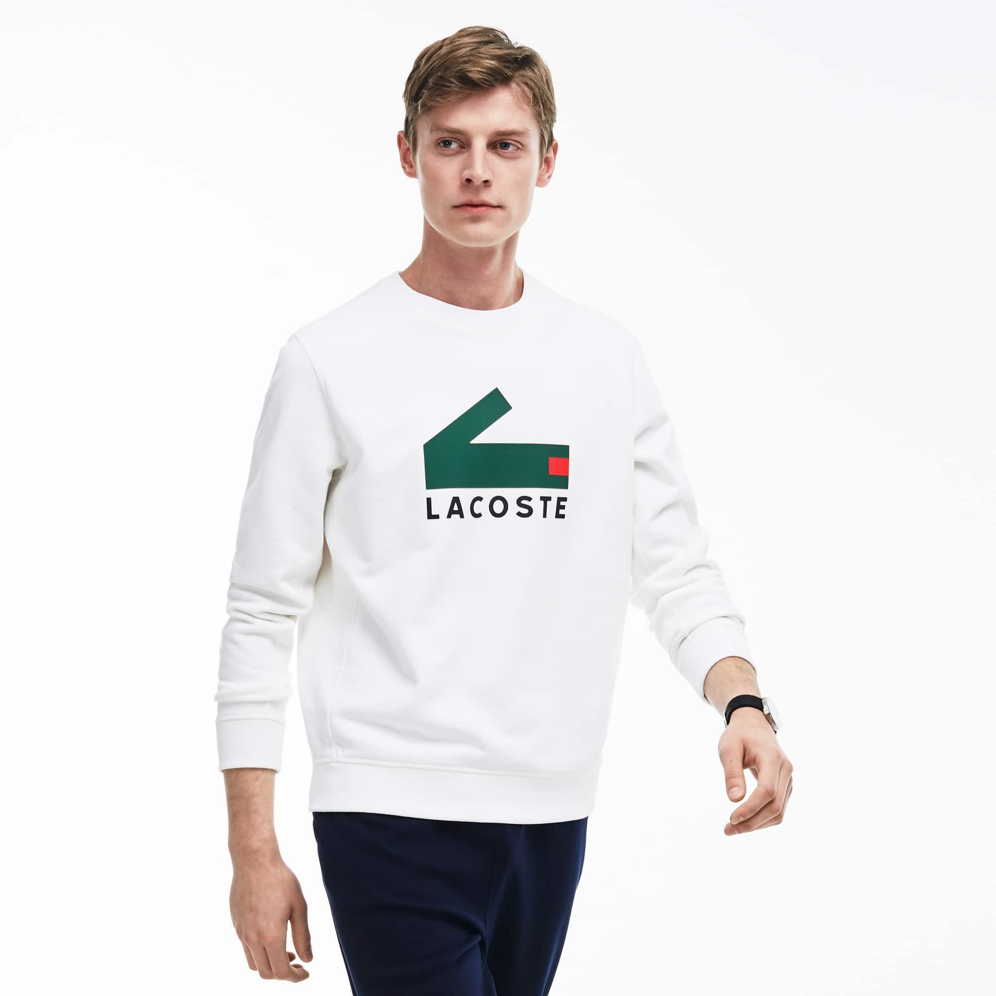 Herren-Sweatshirt aus Baumwoll-Fleece mit Krokodil-Aufdruck