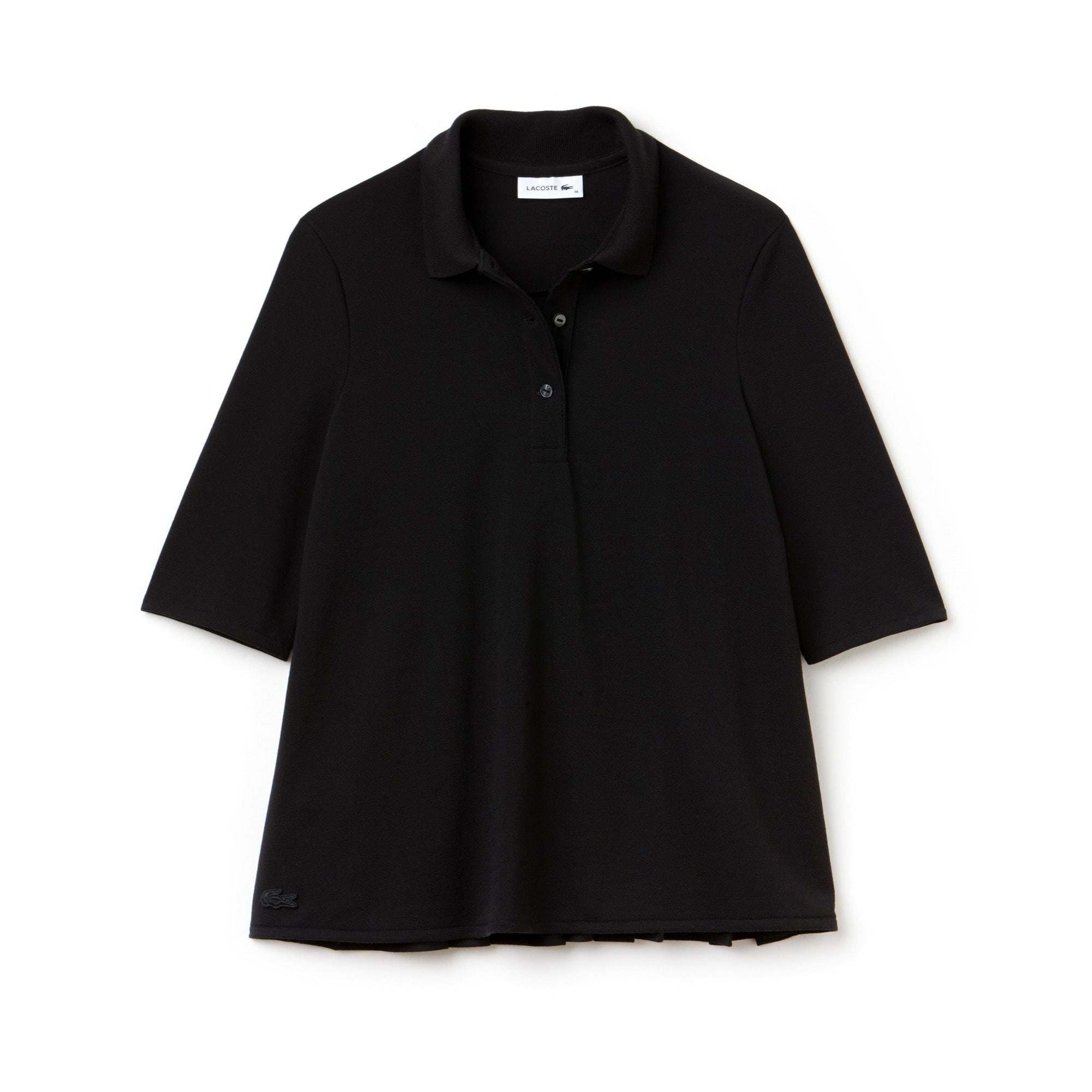 LACOSTE Damen-Poloshirt aus Petit Piqué mit Plisseerücken