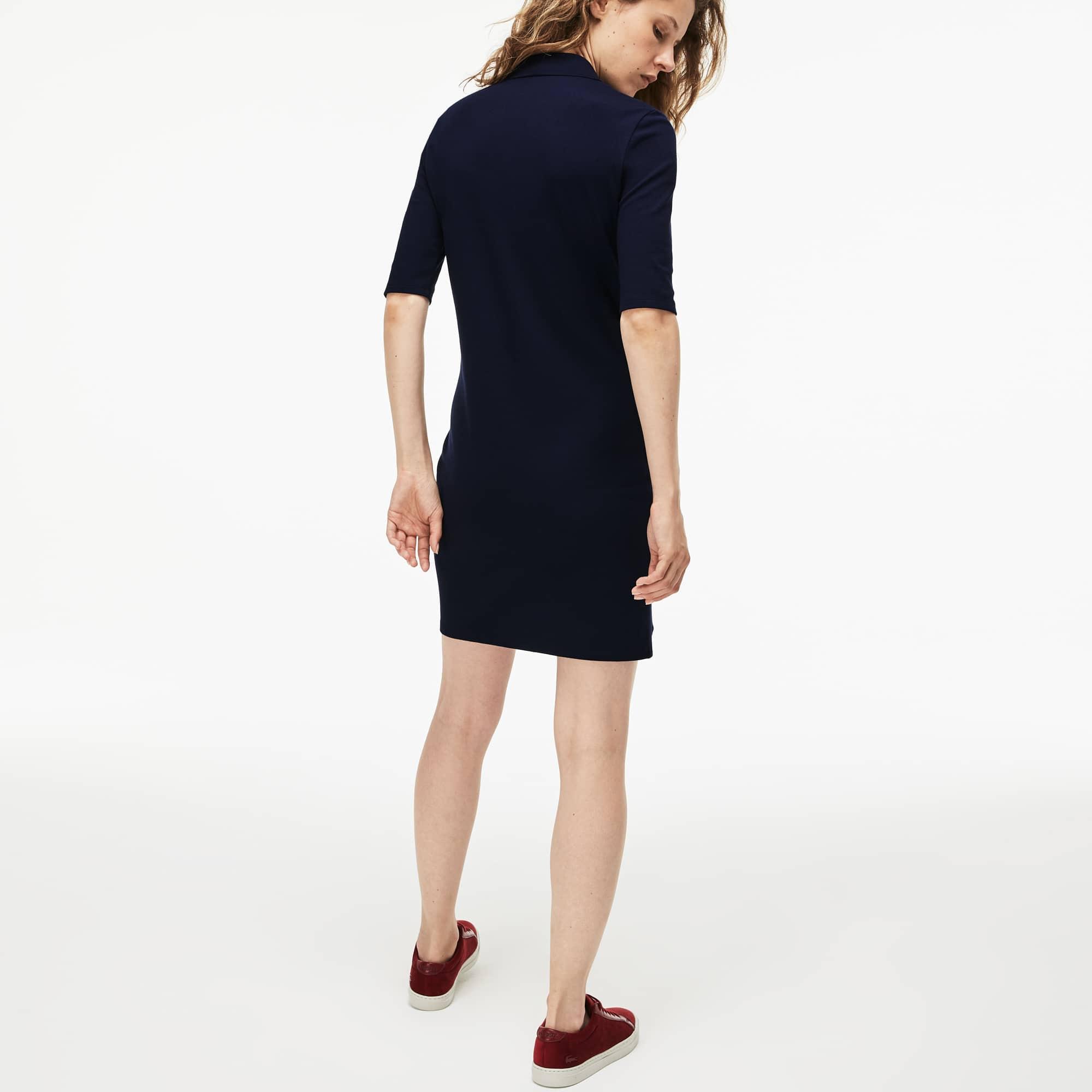 Lacoste - Slim Fit Damen-Polokleid aus Mini-Piqué mit Stretch - 3
