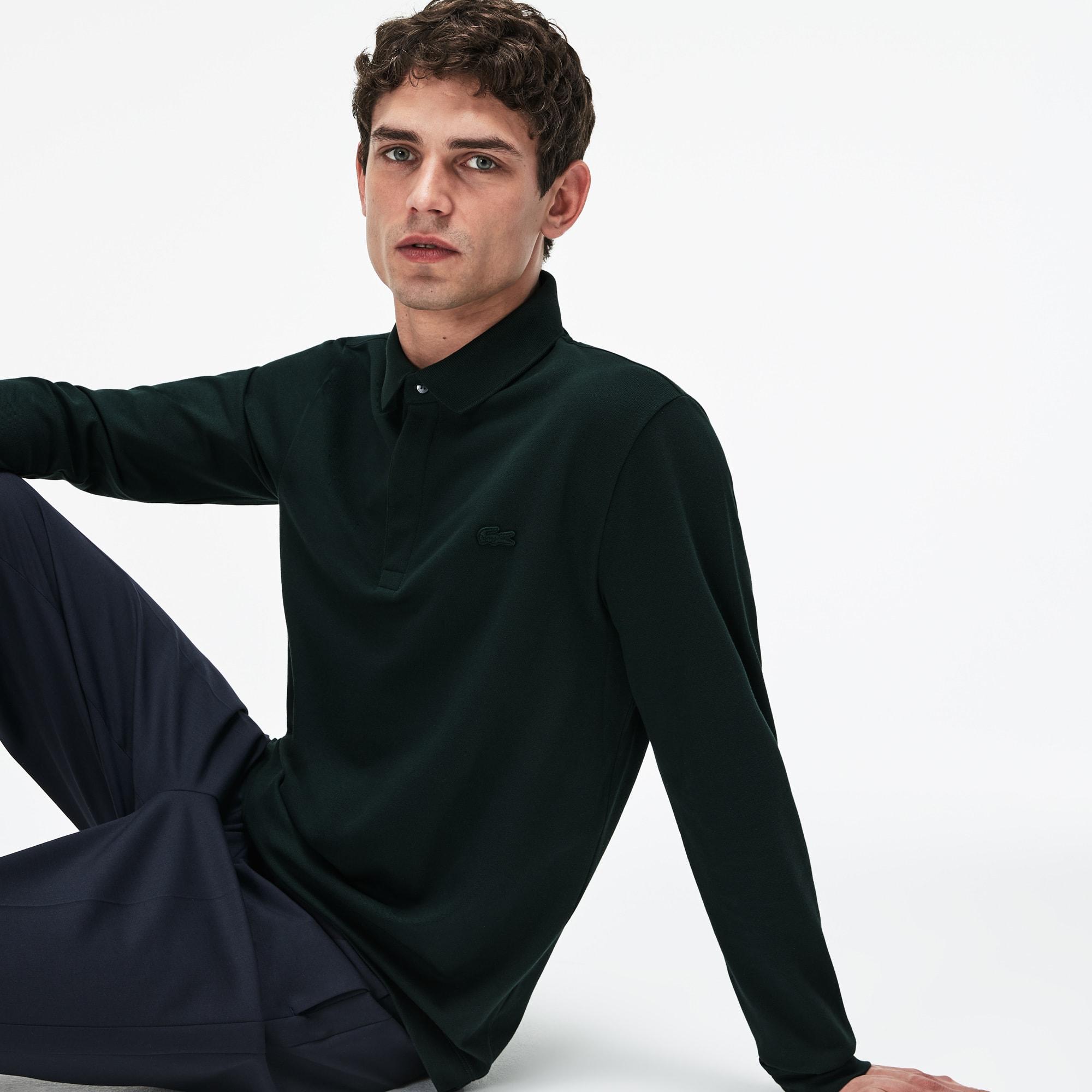 Langärmeliges Herren LACOSTE Paris Polo aus Stretch-Baumwollpiqué