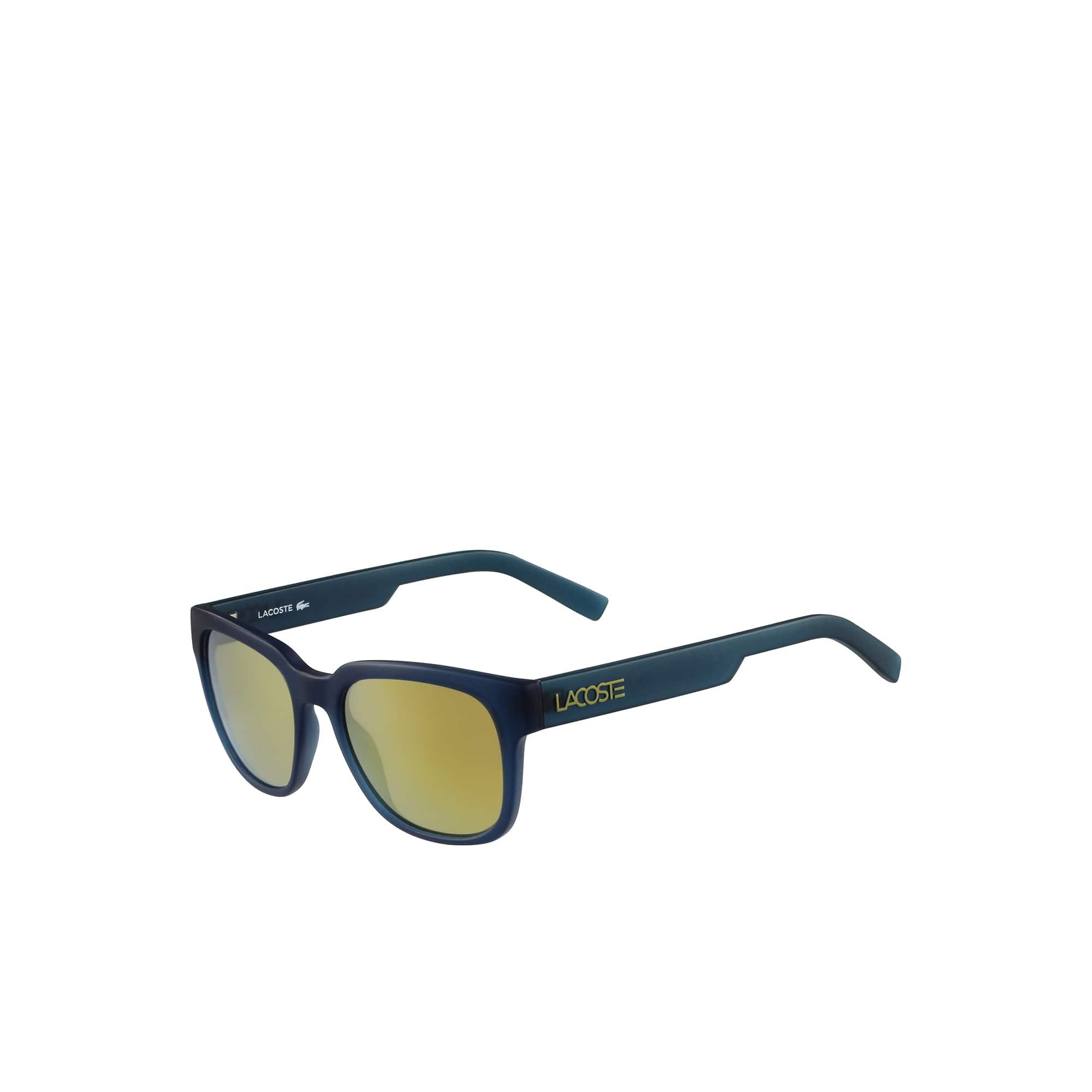 Grüne sportliche Sonnenbrille mit verspiegelten Gläsern