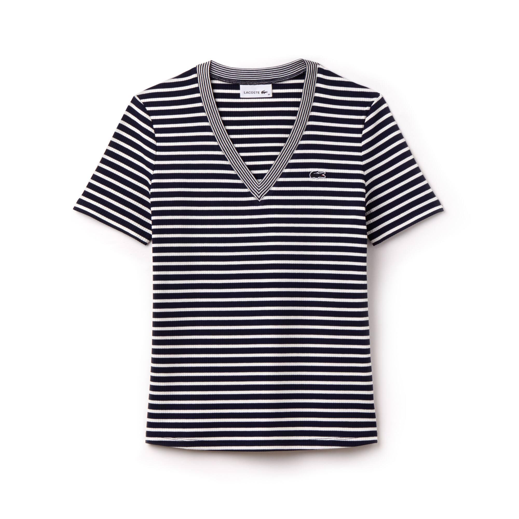 Damen-T-Shirt aus gestreifter Stretch-Baumwolle mit V-Ausschnitt