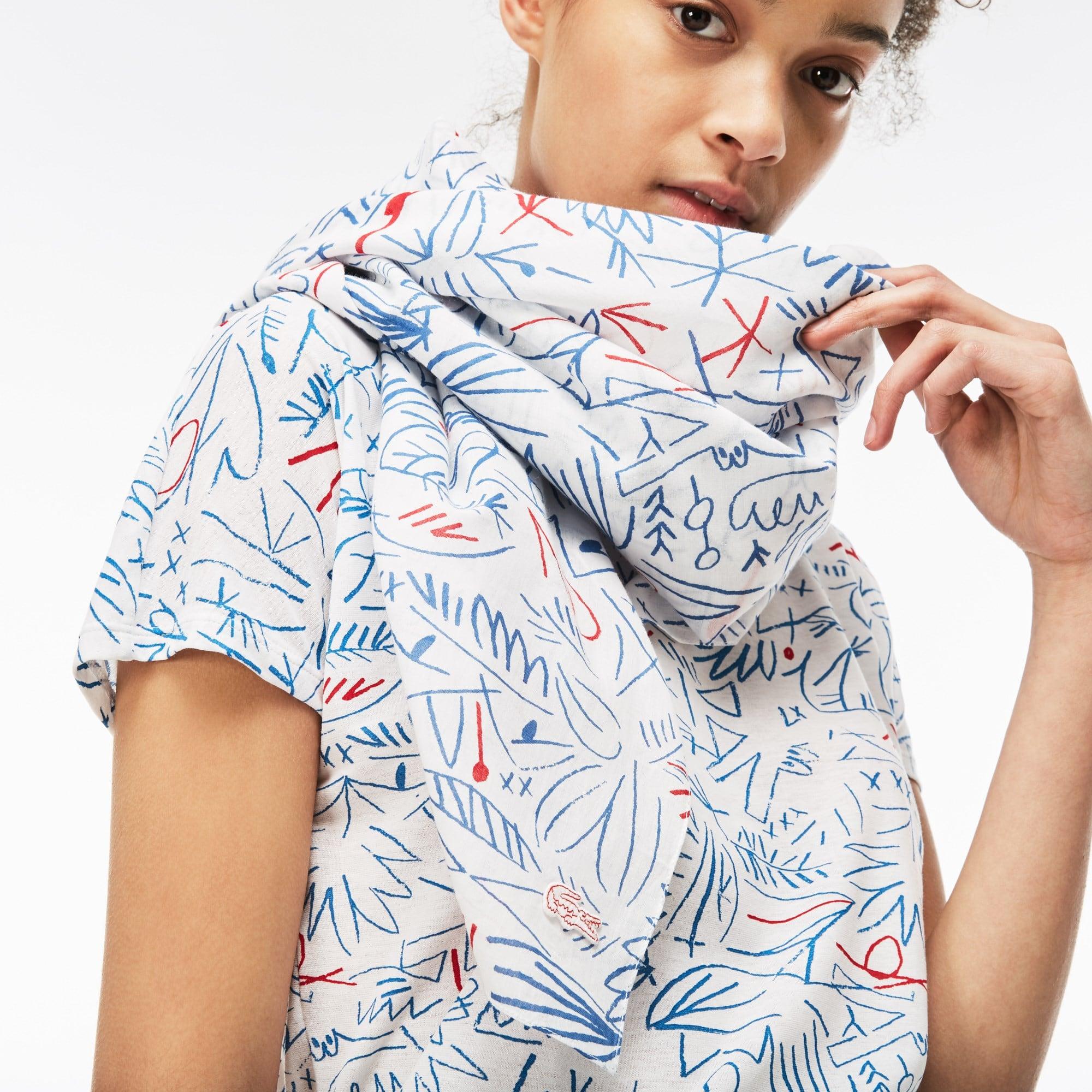 Damen Baumwoll-Voile Schal mit Aufdruck