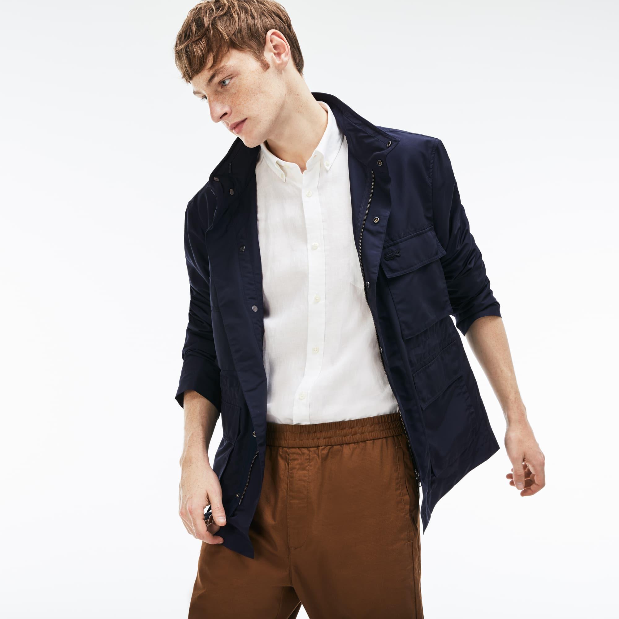 Herren-Jacke aus Taft mit verstecktem Verschluss und Stehkragen