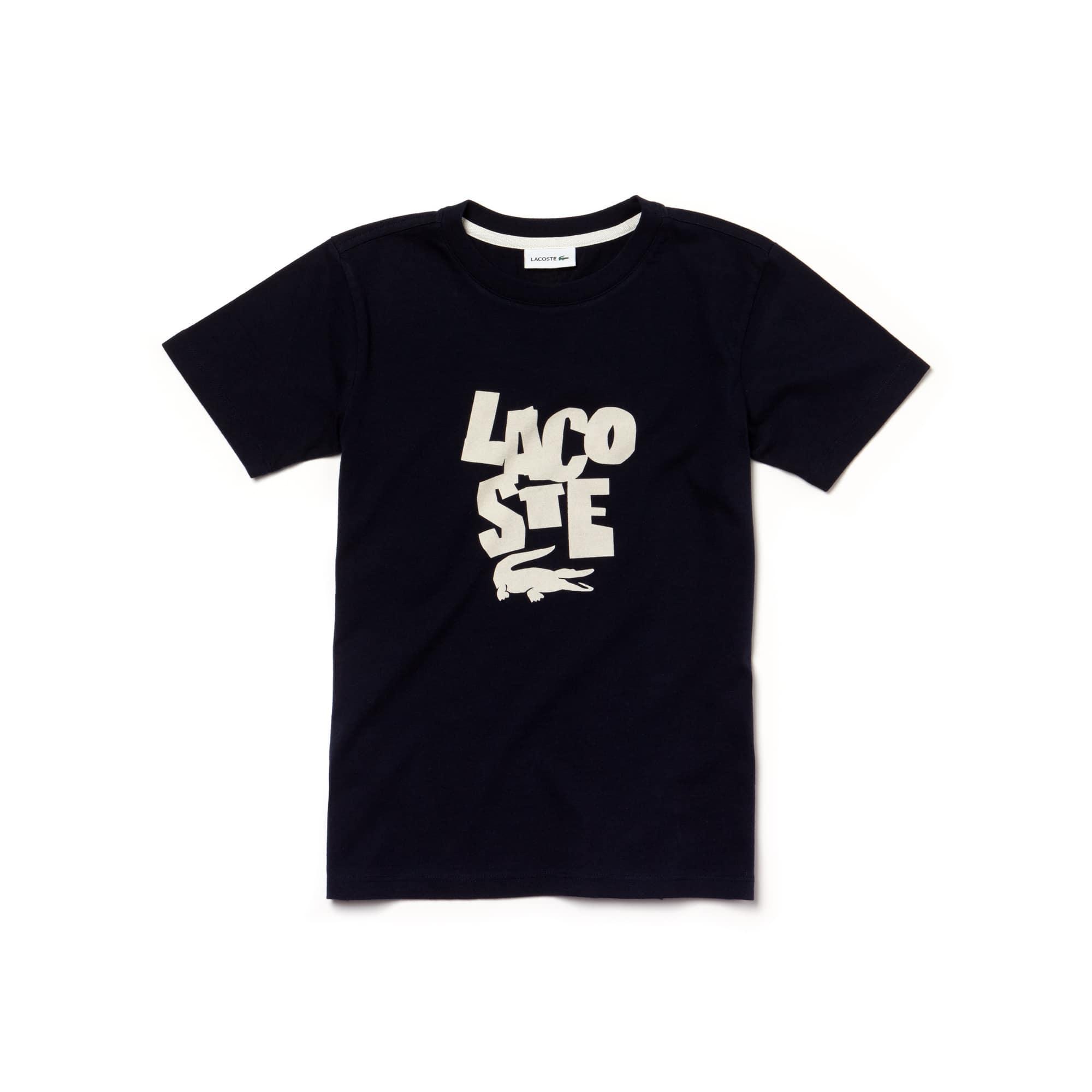 Jungen Rundhals Jersey T-Shirt mit LACOSTE Lettering