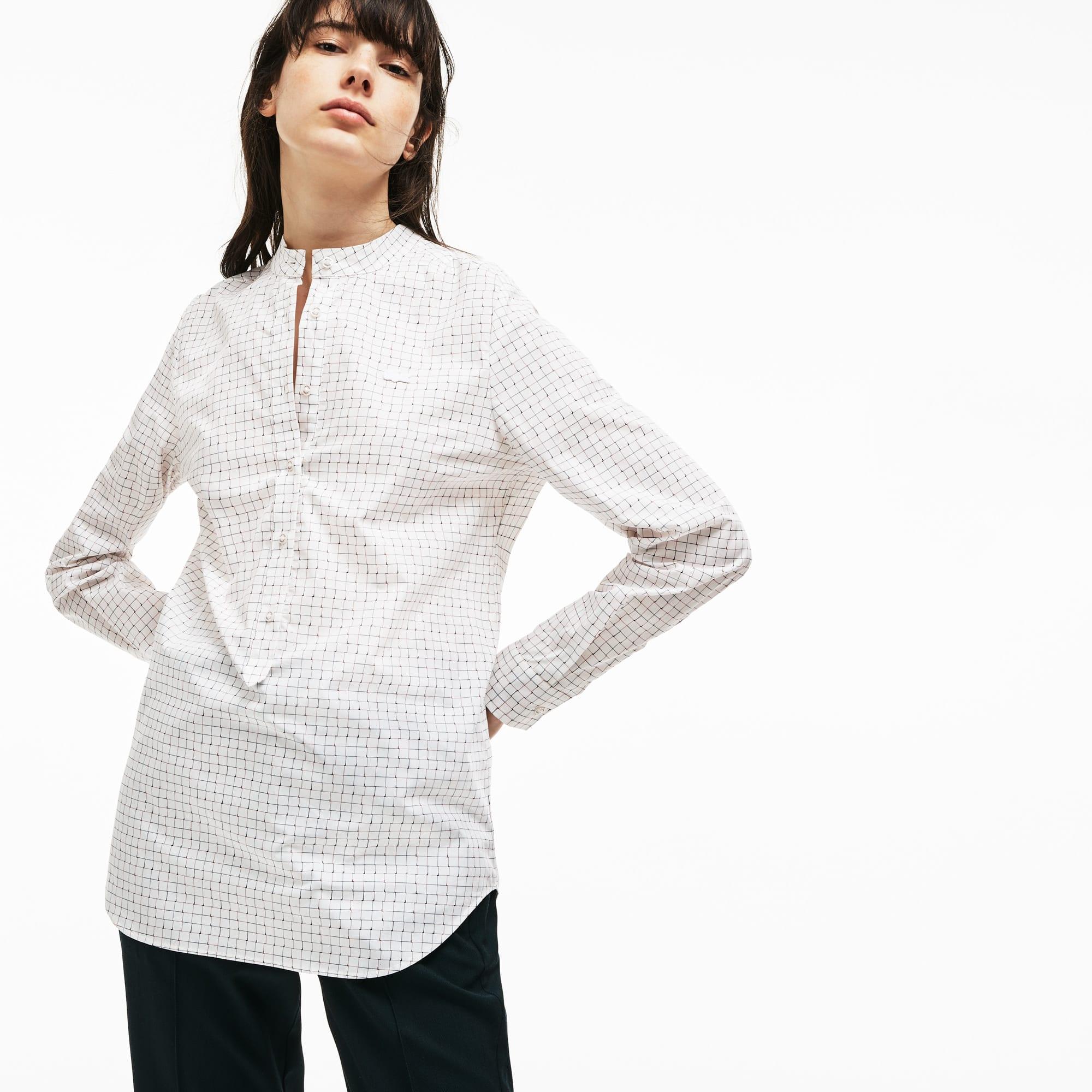 Regular Fit Damen-Bluse aus Baumwoll-Popeline mit Print
