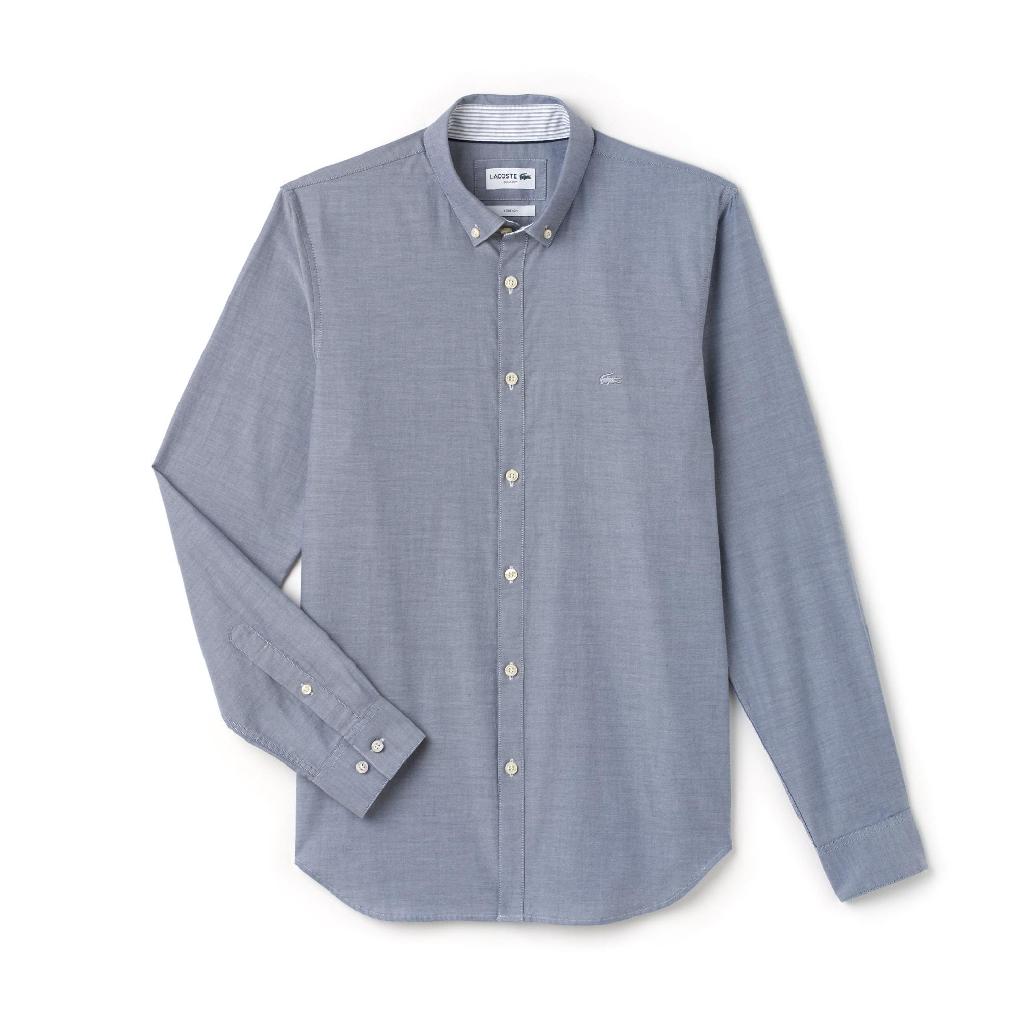 Slim Fit Herren-Hemd aus Baumwoll-Pinpoint mit Stretch