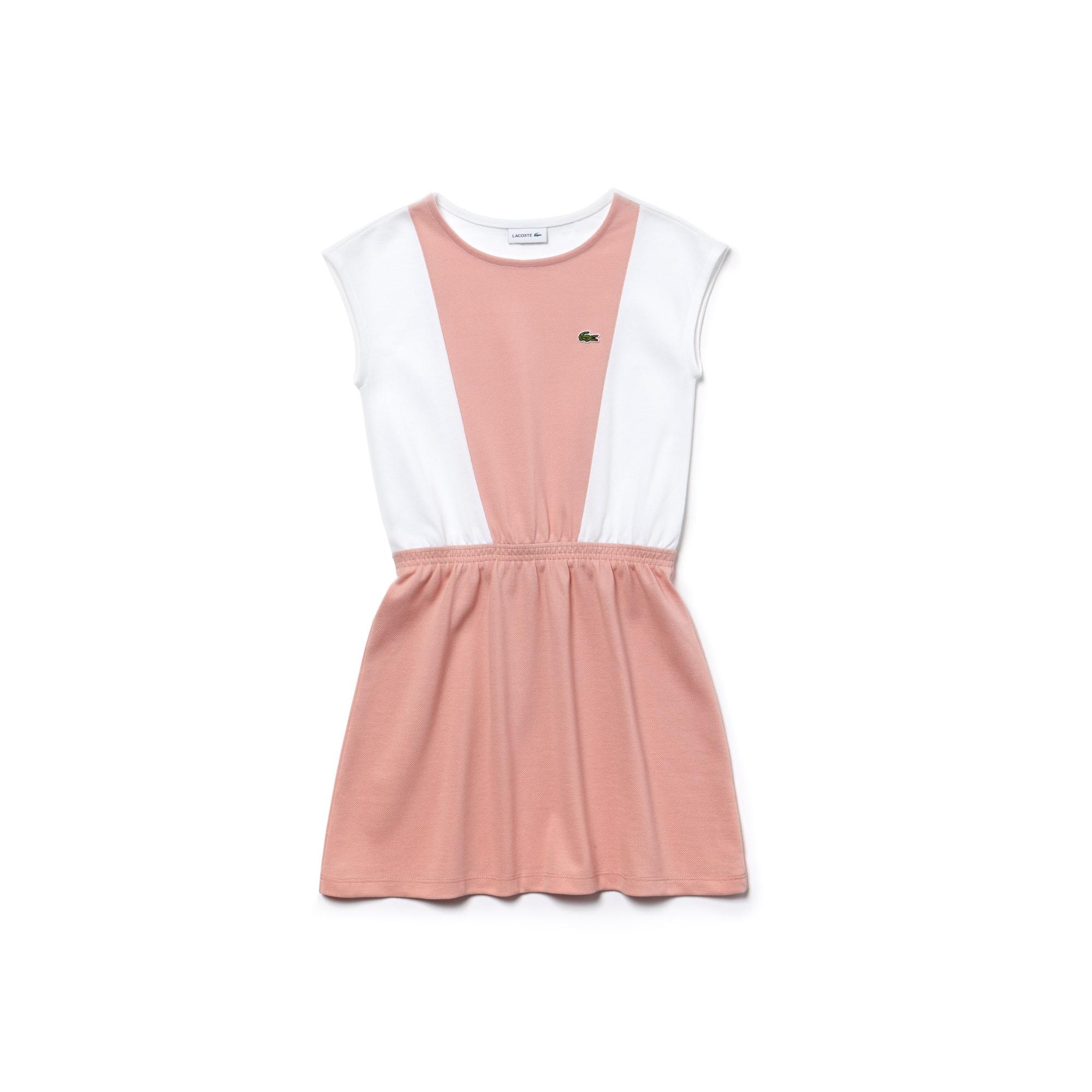 Tailliertes Mädchen-Kleid aus Petit Piqué im Colorblock-Design