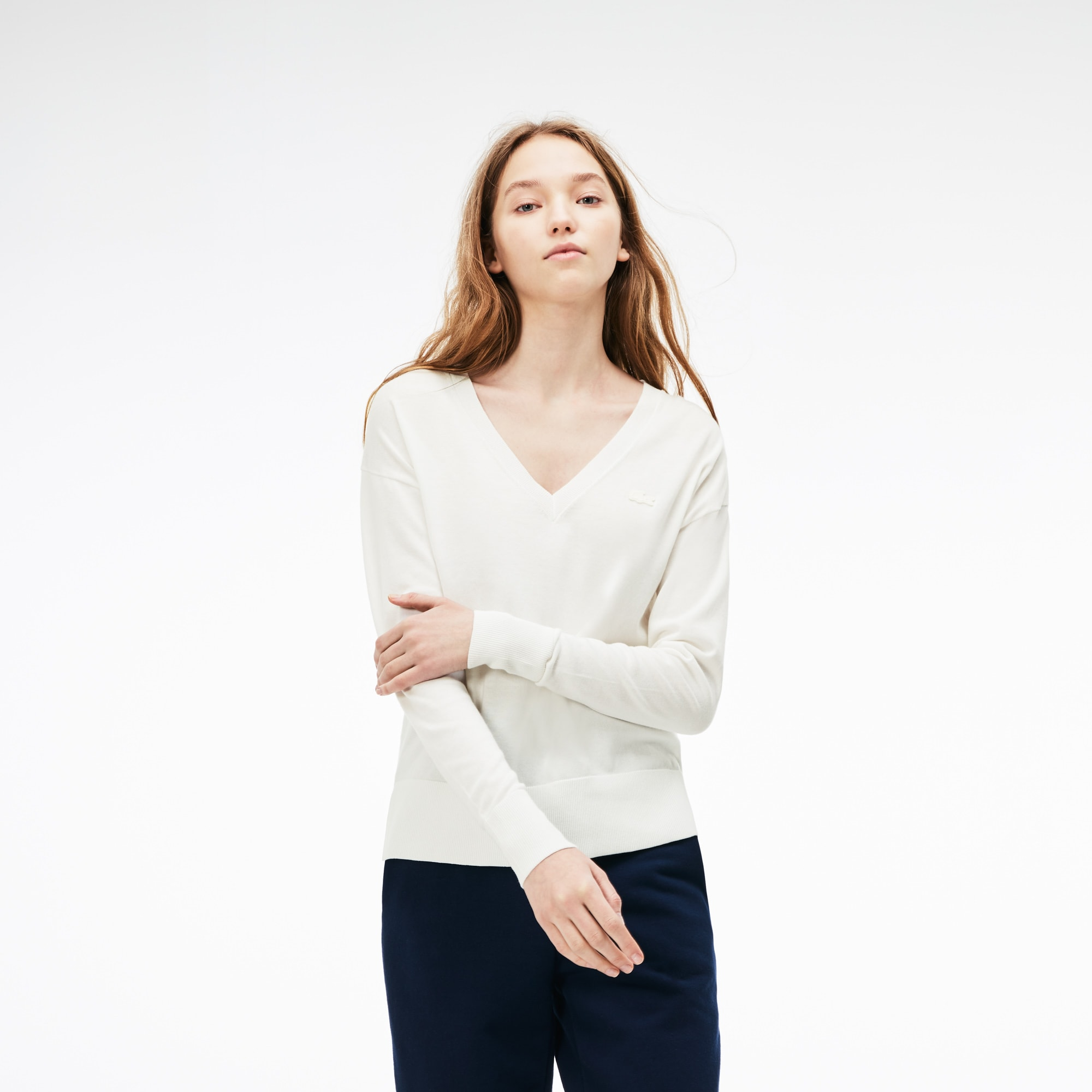 Damen-Pullover aus Baumwolljersey mit V-Ausschnitt