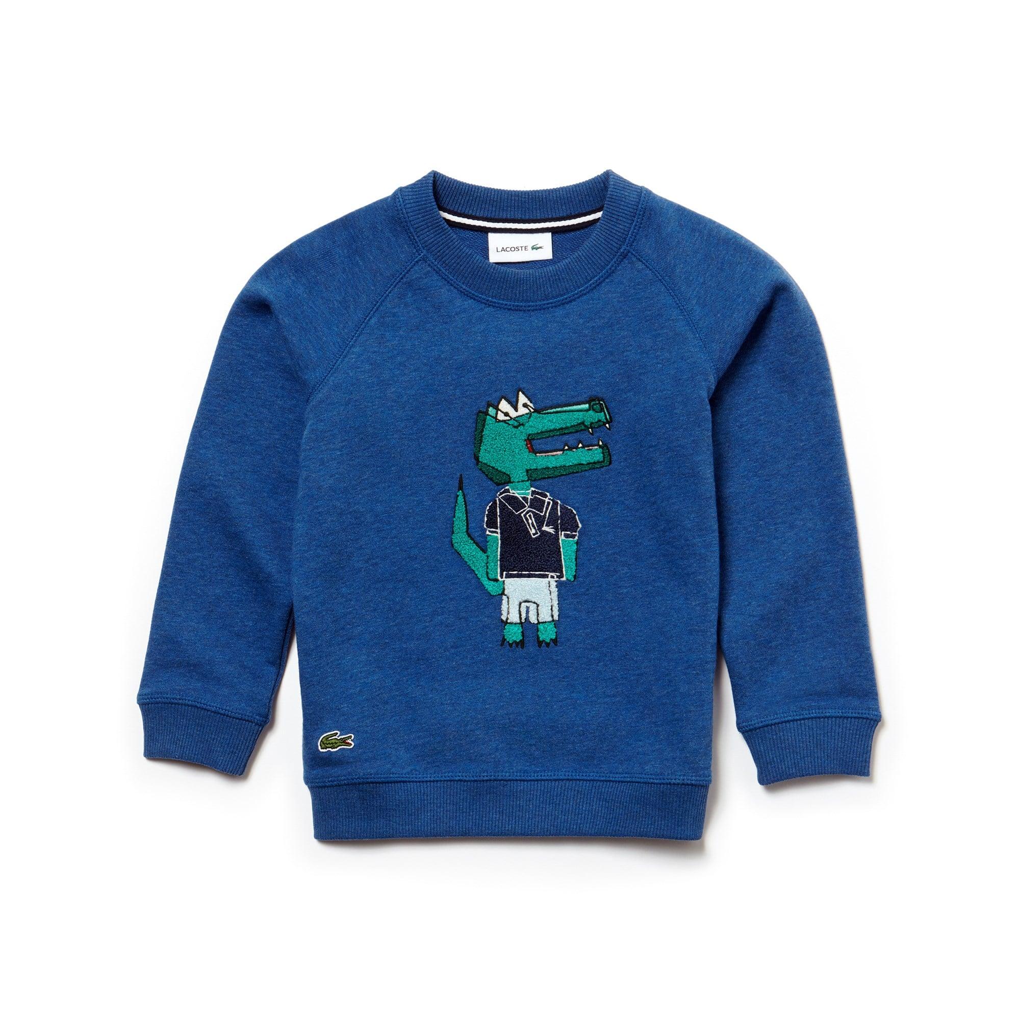 Jungen-Rundhals-Sweatshirt aus Indigo-Fleece mit Krokodil