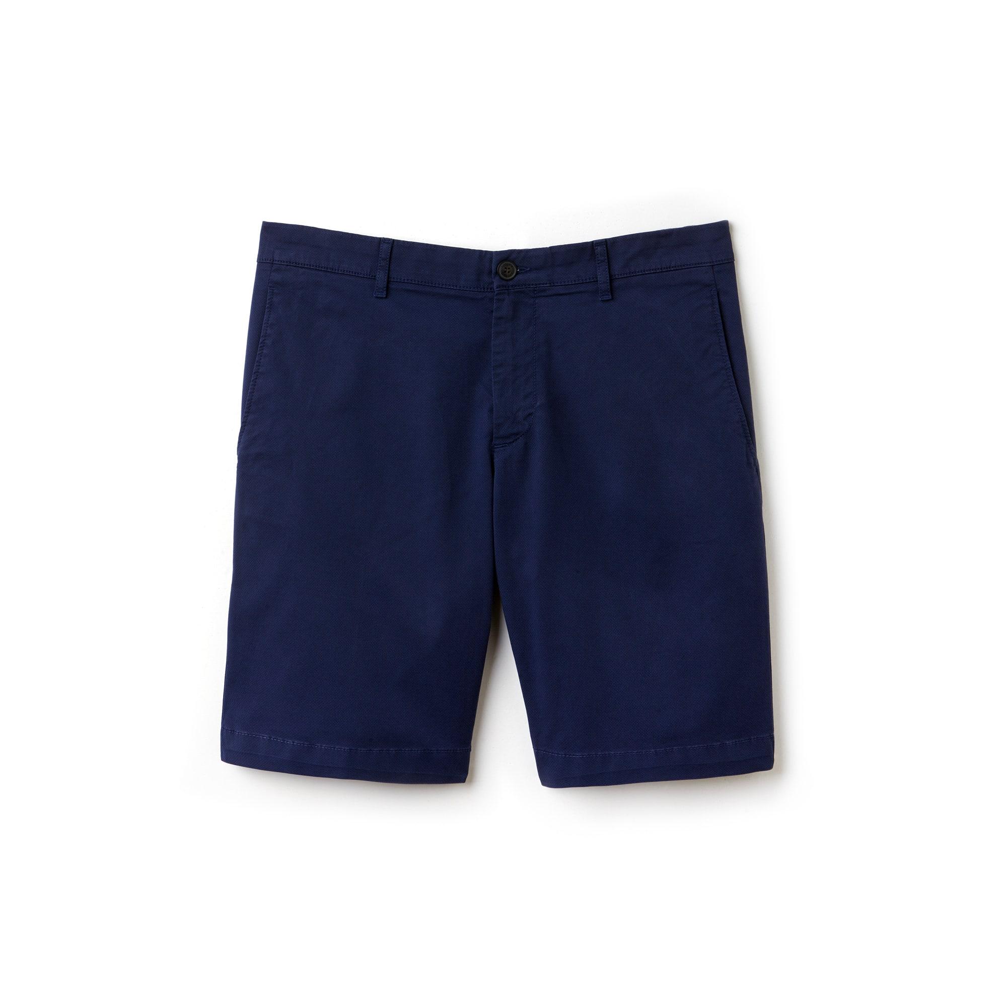 Men's Slim Fit Mini Print Stretch Cotton Twill Bermuda Shorts