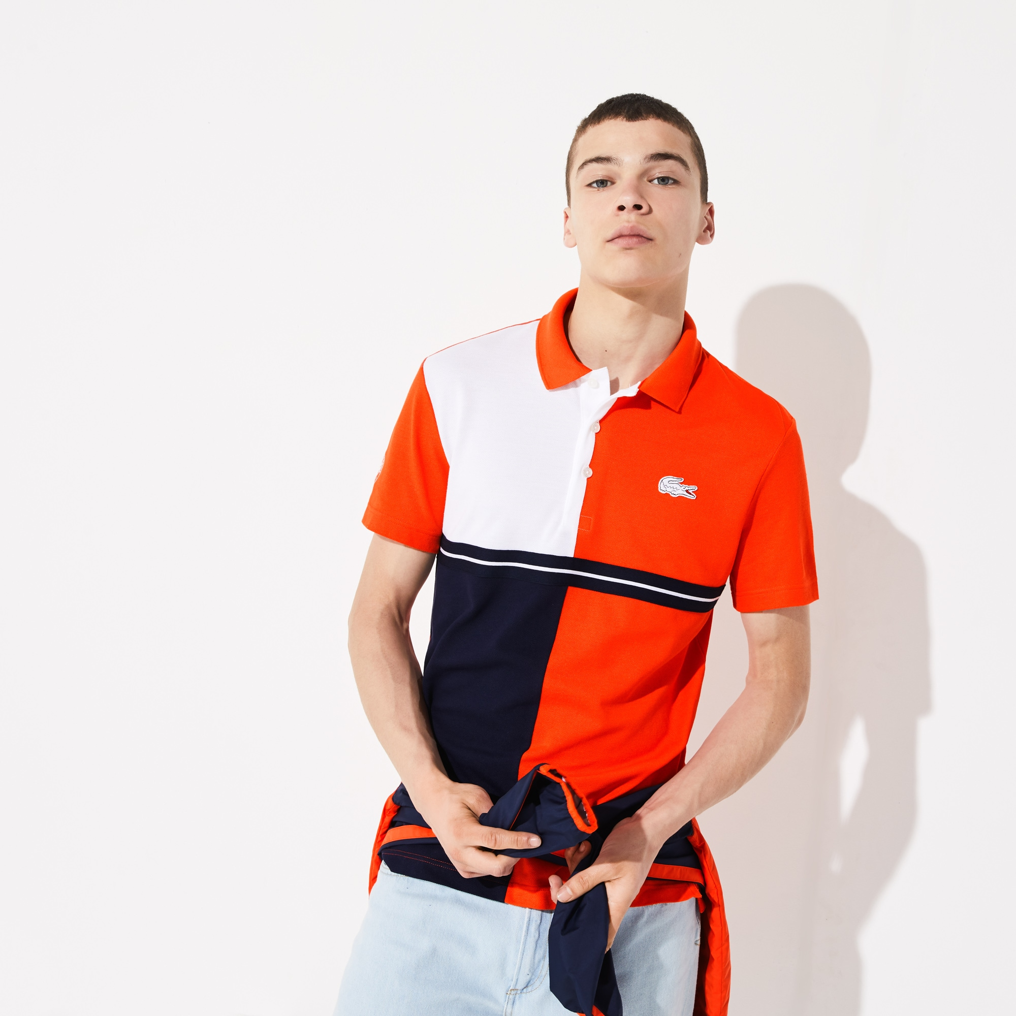 baa228c38c Men's Lacoste SPORT French Open Colourblock Petit Piqué Polo Shirt