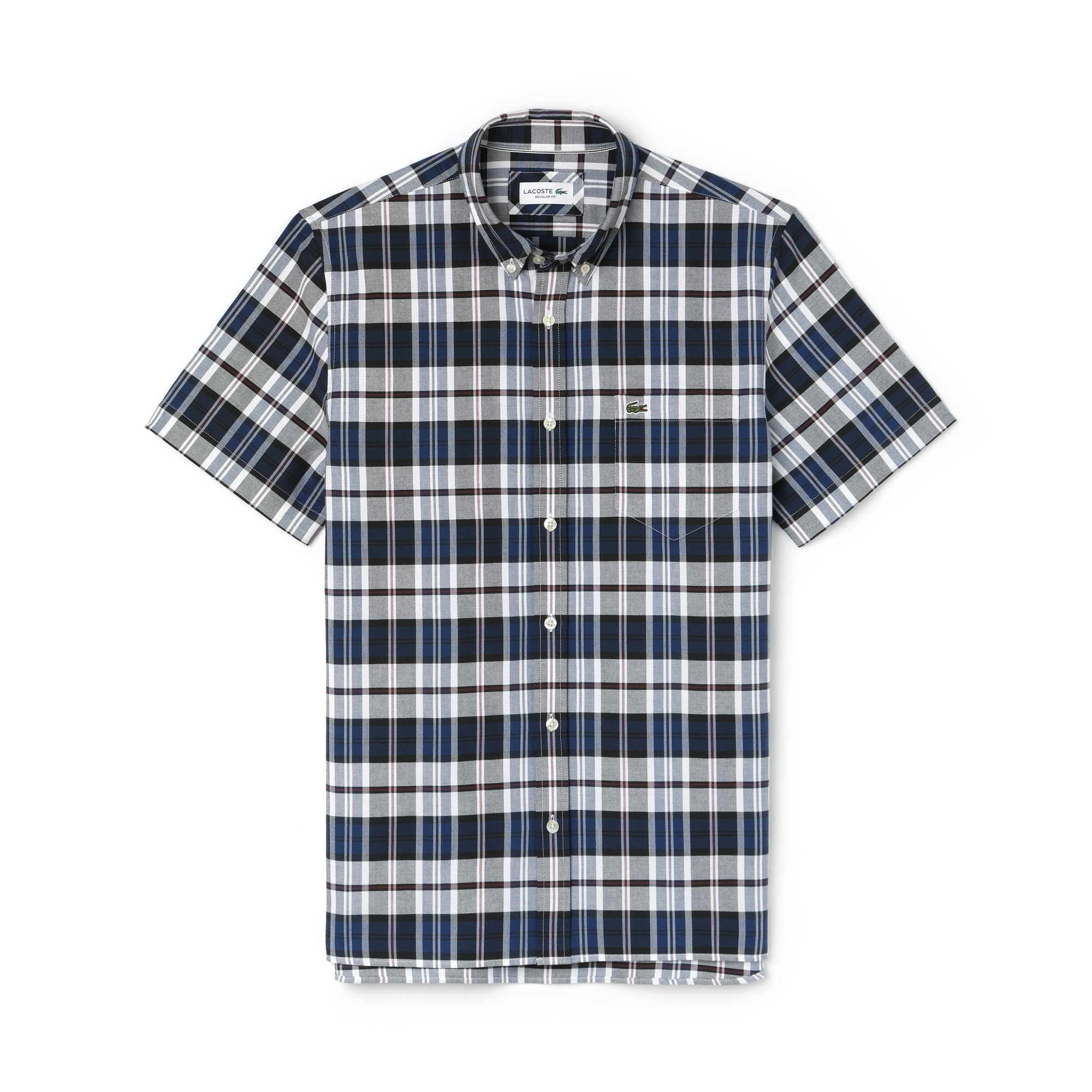 Men's Regular Fit Colored Check Cotton Oxford Shirt
