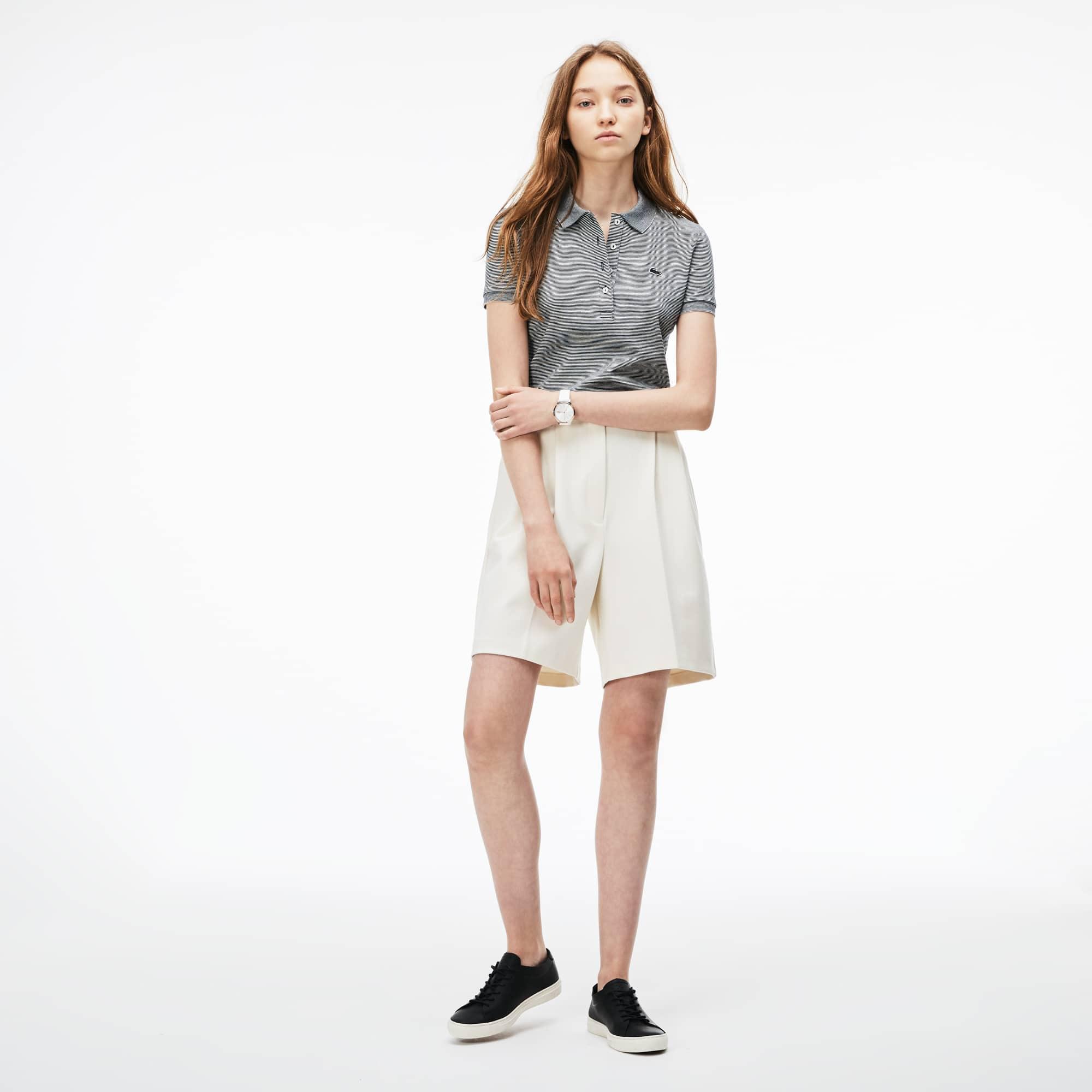 Women's Pleated Stretch Milano Knit Bermuda Shorts