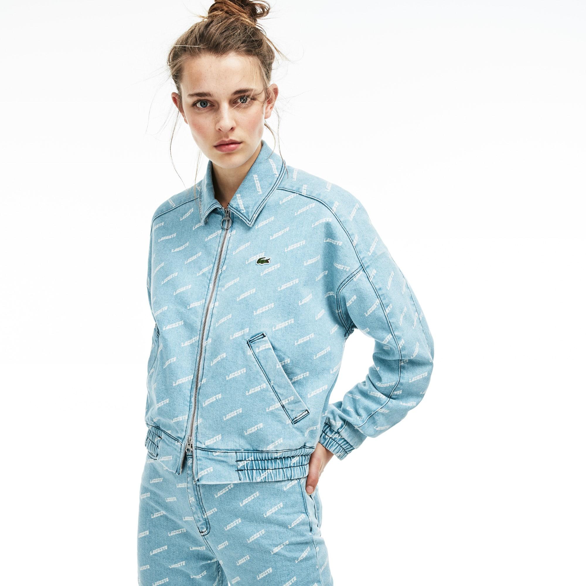 b26c933ab4 Unisex Lacoste LIVE Lacoste Print Denim Zip Jacket