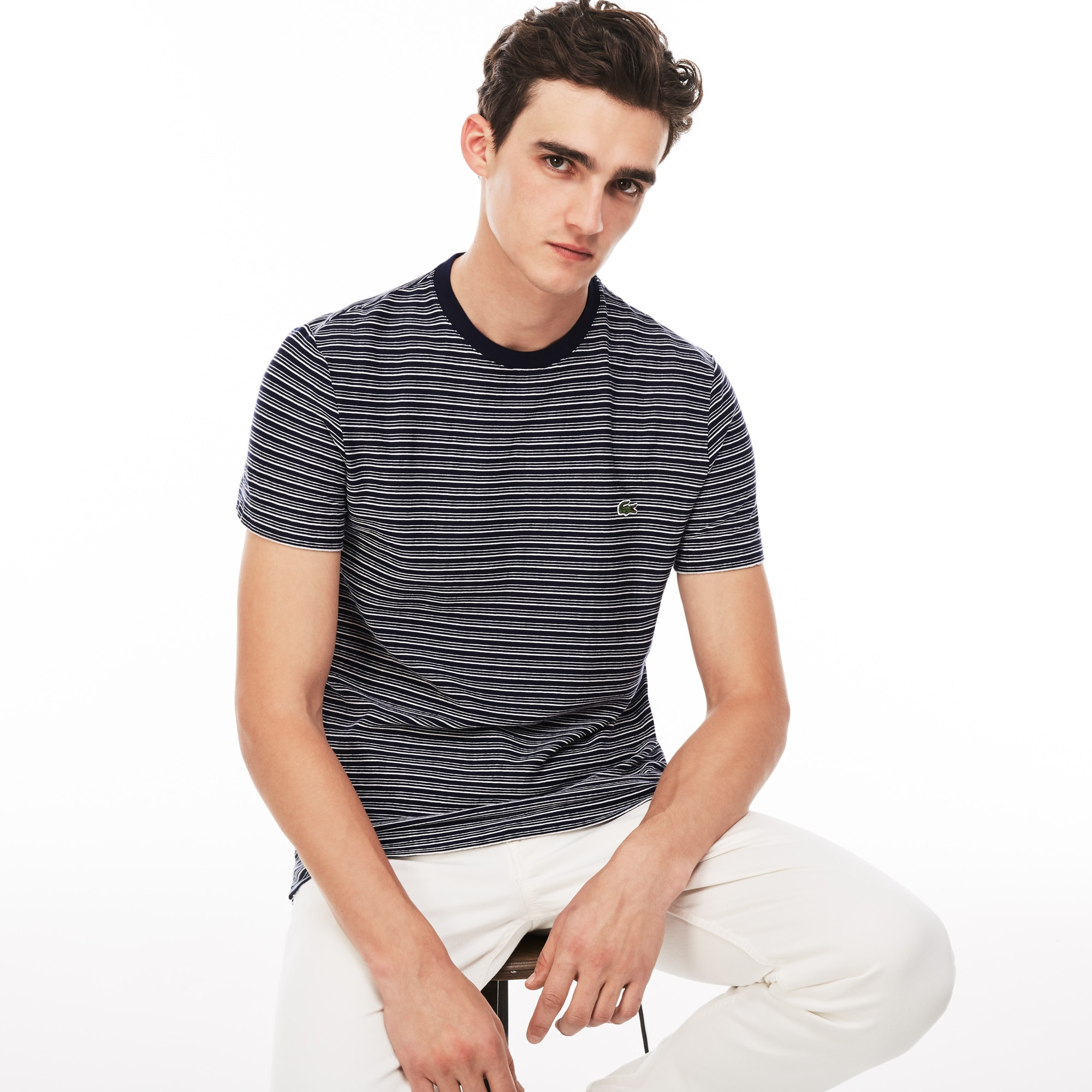 Men's Crew Neck Striped Flamme Cotton Jersey T-shirt
