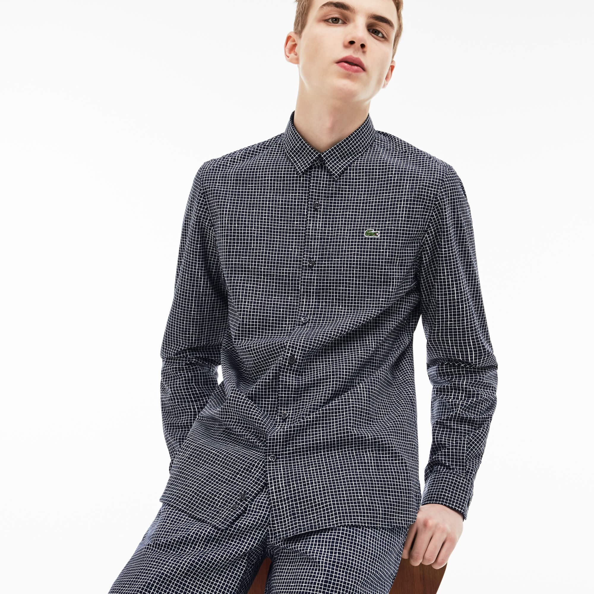 Men's Lacoste LIVE Slim Fit Mini Check Poplin Shirt