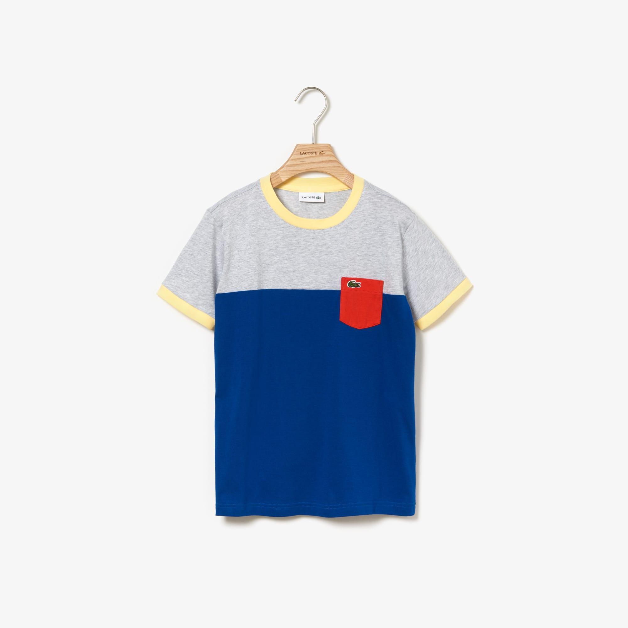 2284aa9115 Boys' Crew Neck Contrast Pocket Colourblock Cotton T-shirt