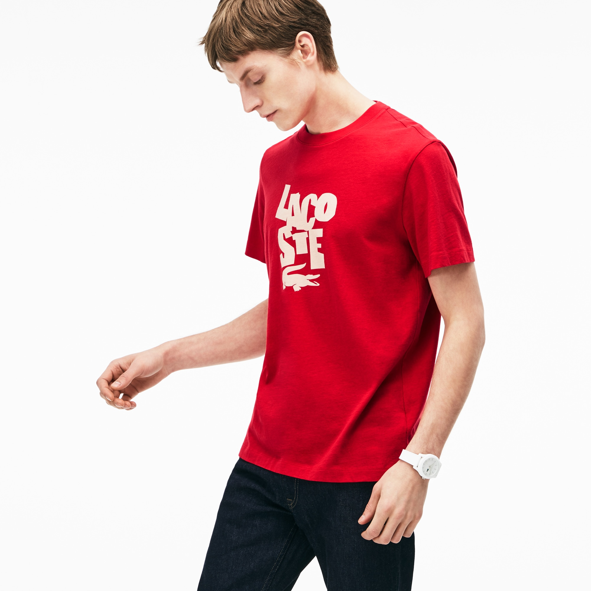 Men's Crew Neck Lacoste Lettering Cotton Jersey T-shirt