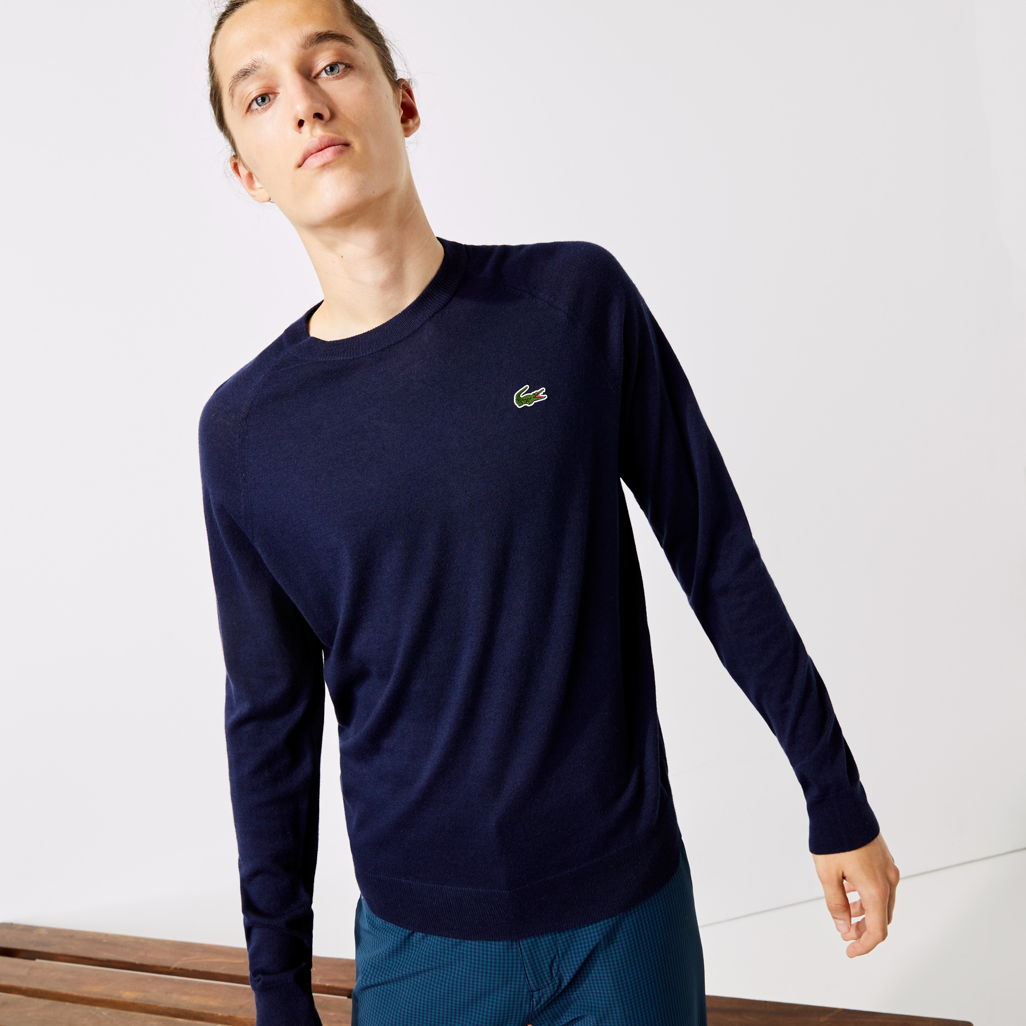 Men's Lacoste SPORT Solid Breathable Knit Crew Neck Golf Sweater