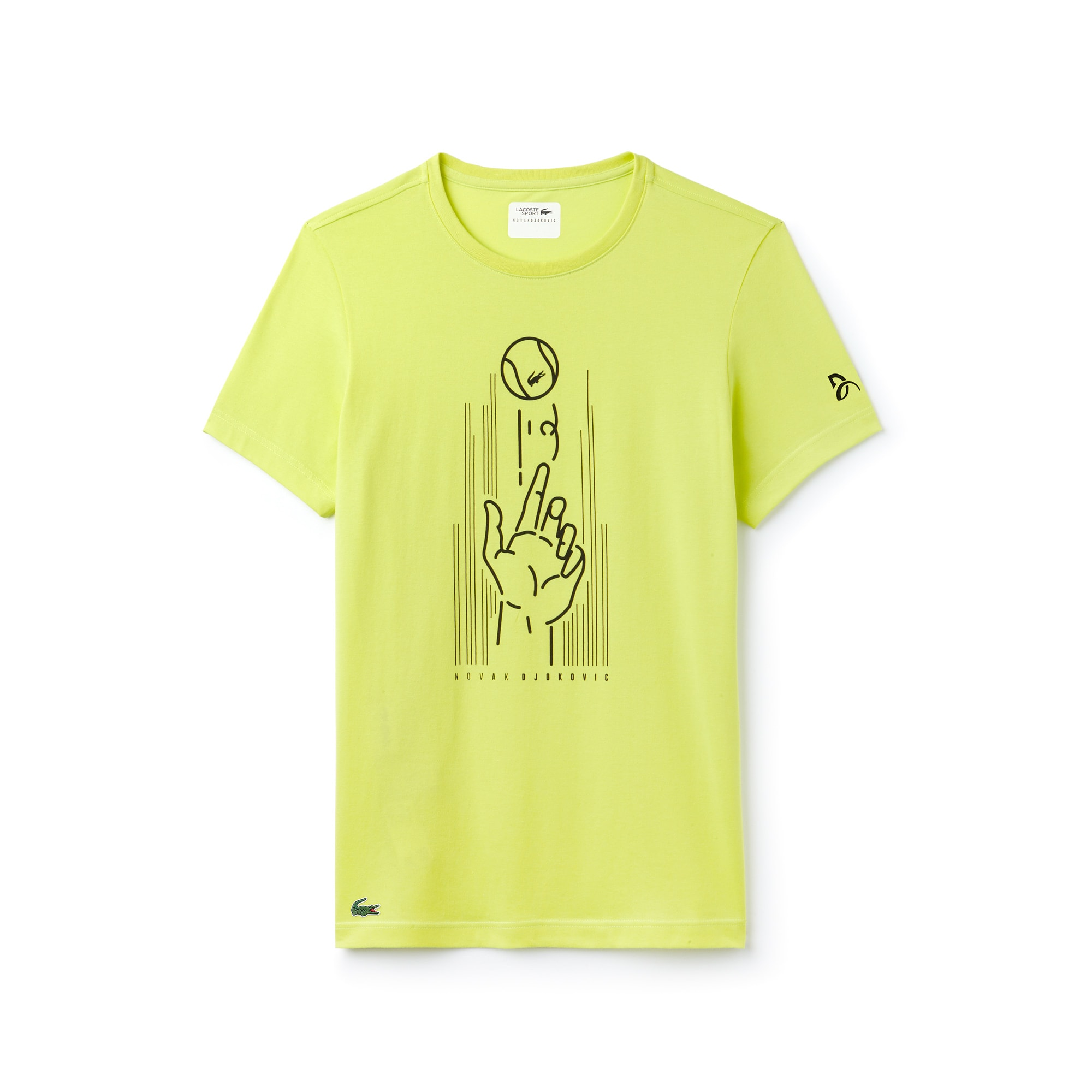 Men's Lacoste SPORT NOVAK DJOKOVIC SUPPORT WITH STYLE - OFF COURT COLLECTION Crew Neck Print Technical Jersey T-shirt