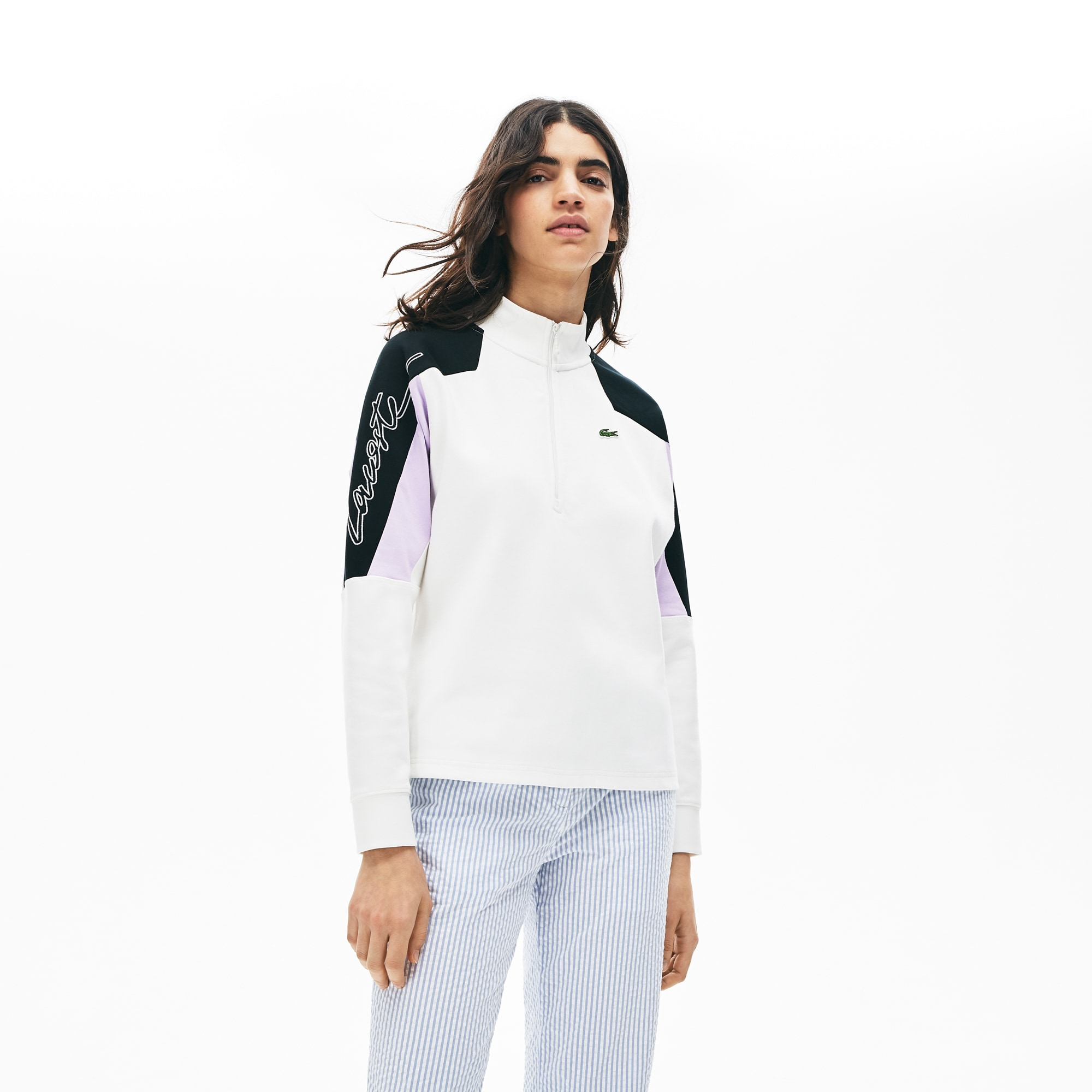 Women's Lacoste LIVE Colourblock Cotton Blend Zip Sweatshirt