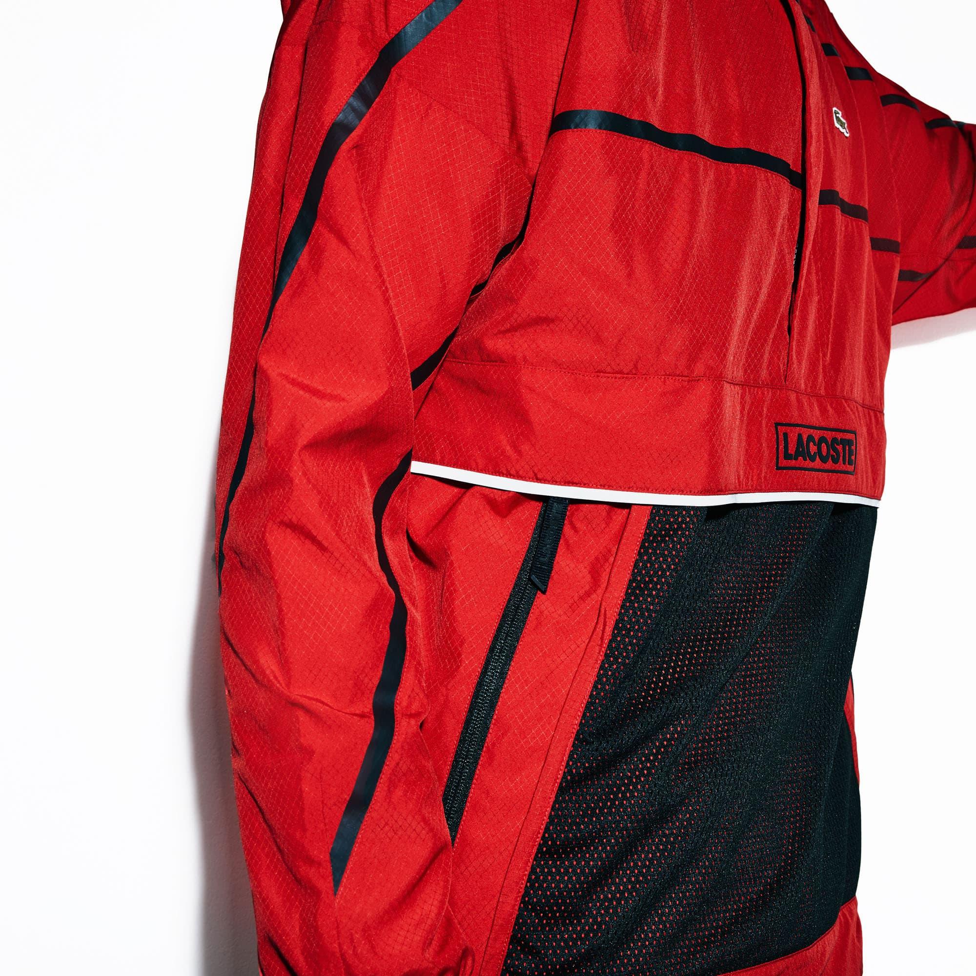9033945871 Men's Lacoste SPORT Kangaroo Pocket Pullover Water-Resistant Windbreaker