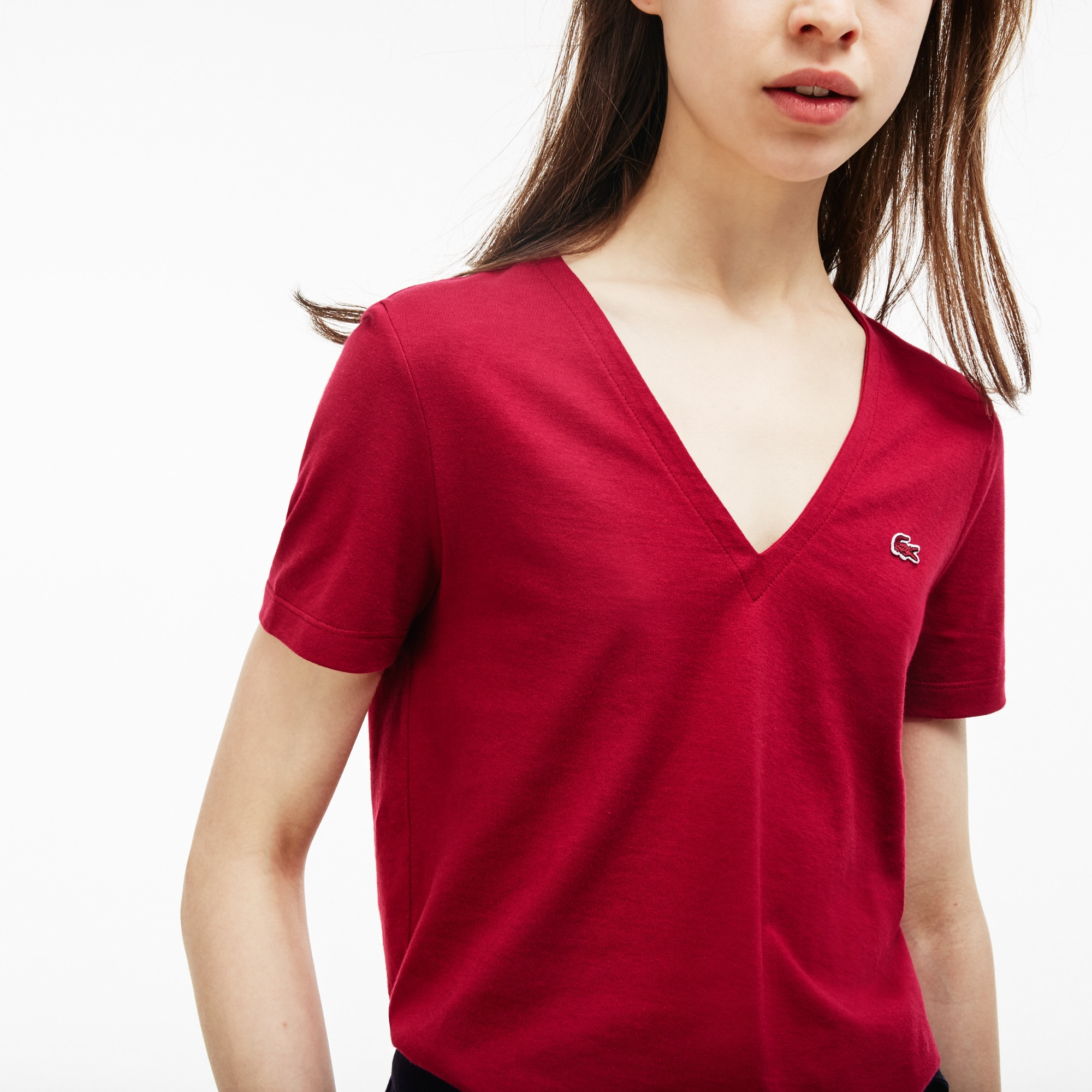 Women's Slim Fit V-Neck Cotton Jersey T-shirt
