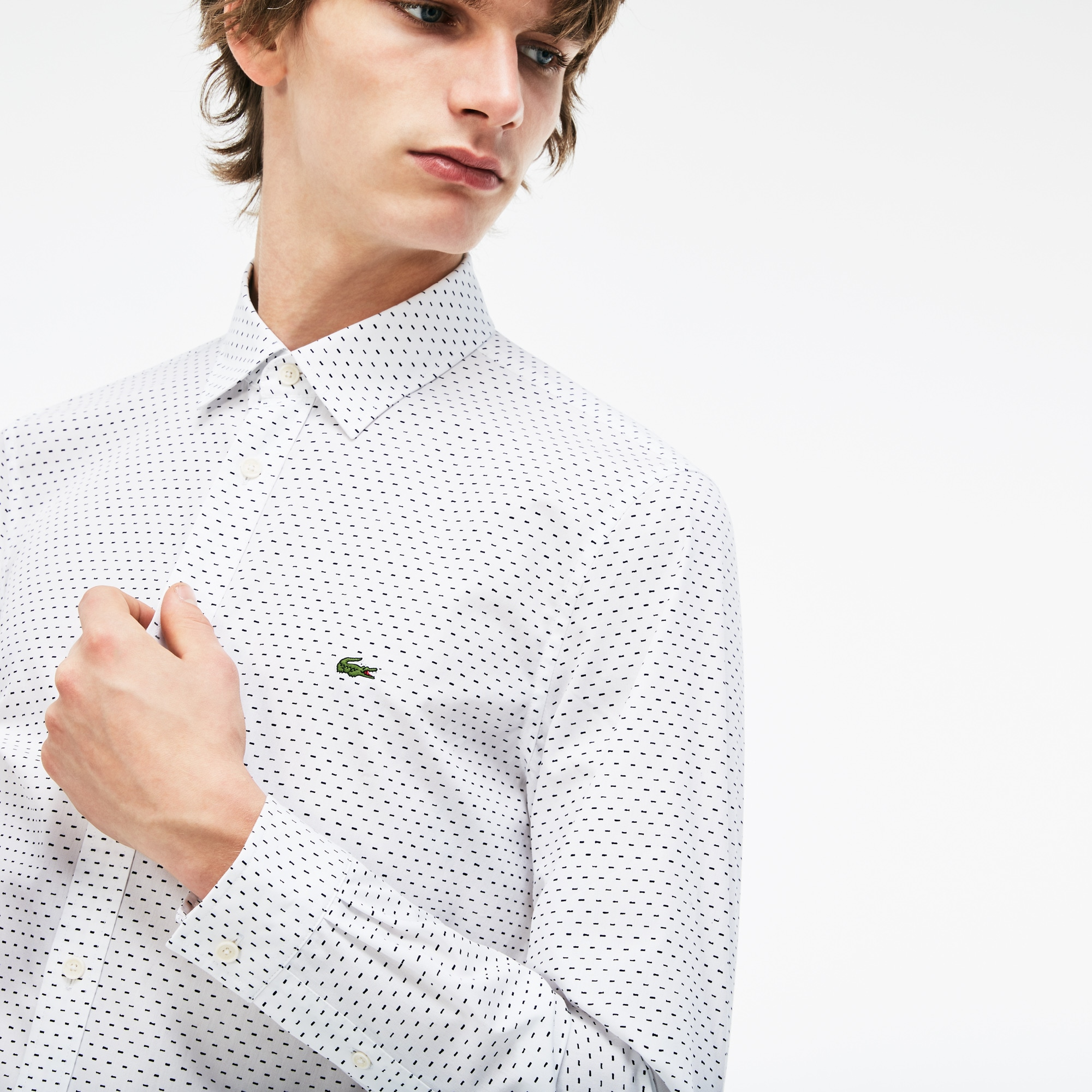 Men's Lacoste Motion Slim Fit Print Poplin Shirt