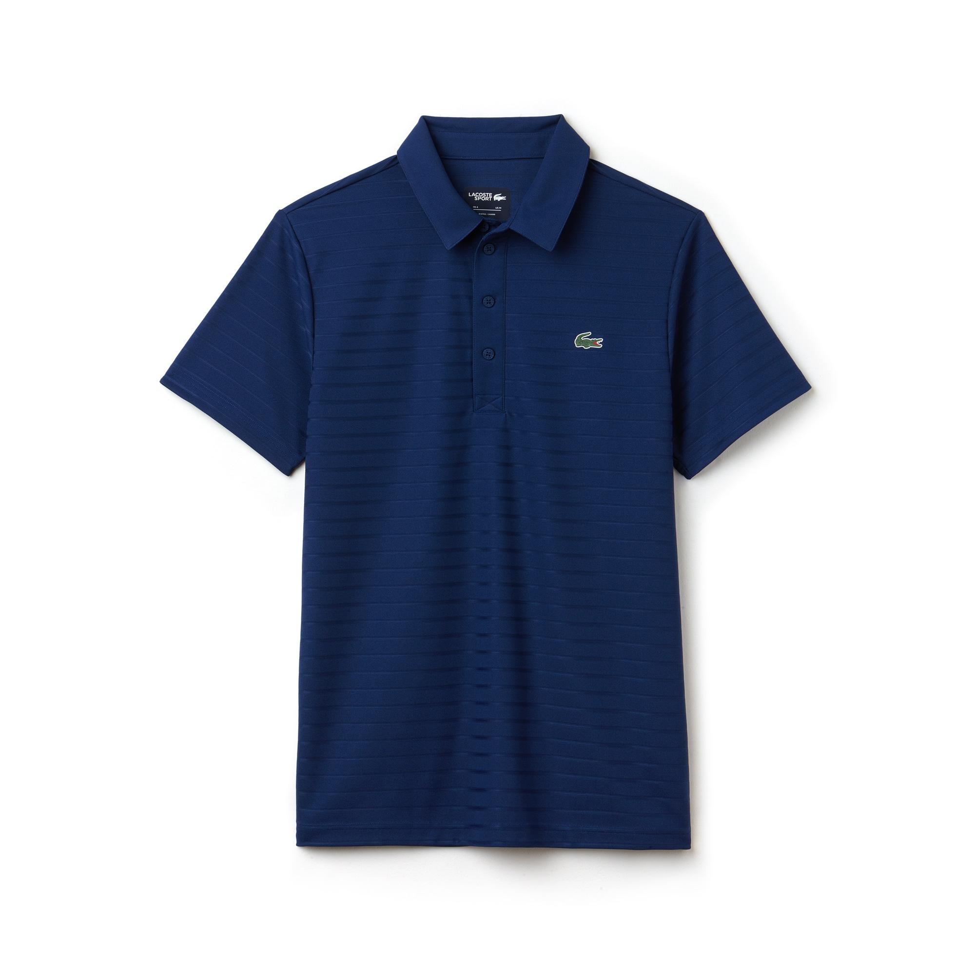 Men's Lacoste SPORT Golf Striped Tech Jacquard Jersey Polo Shirt