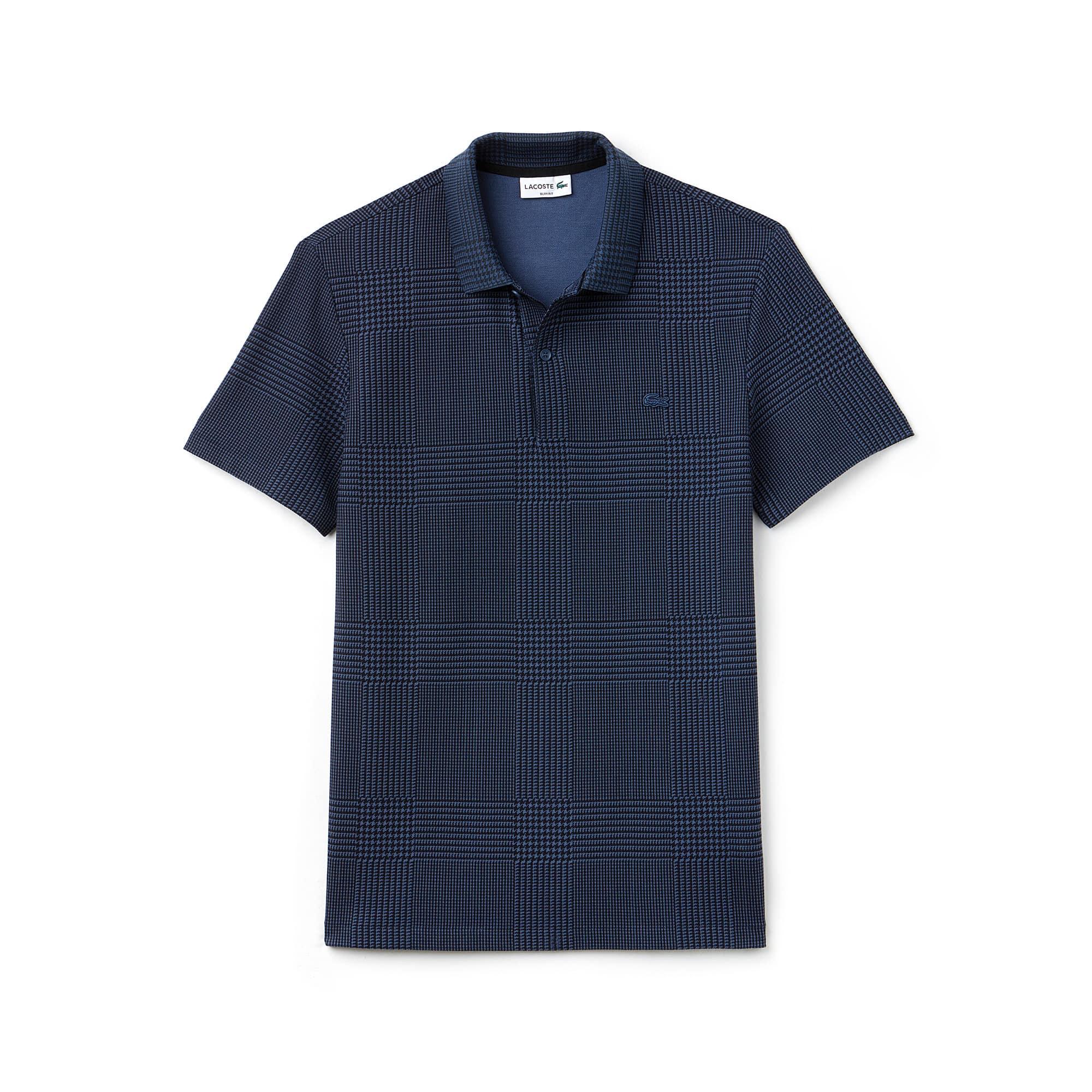 Men's Lacoste Slim Fit Bicolor Print Cotton Micro Piqué Polo