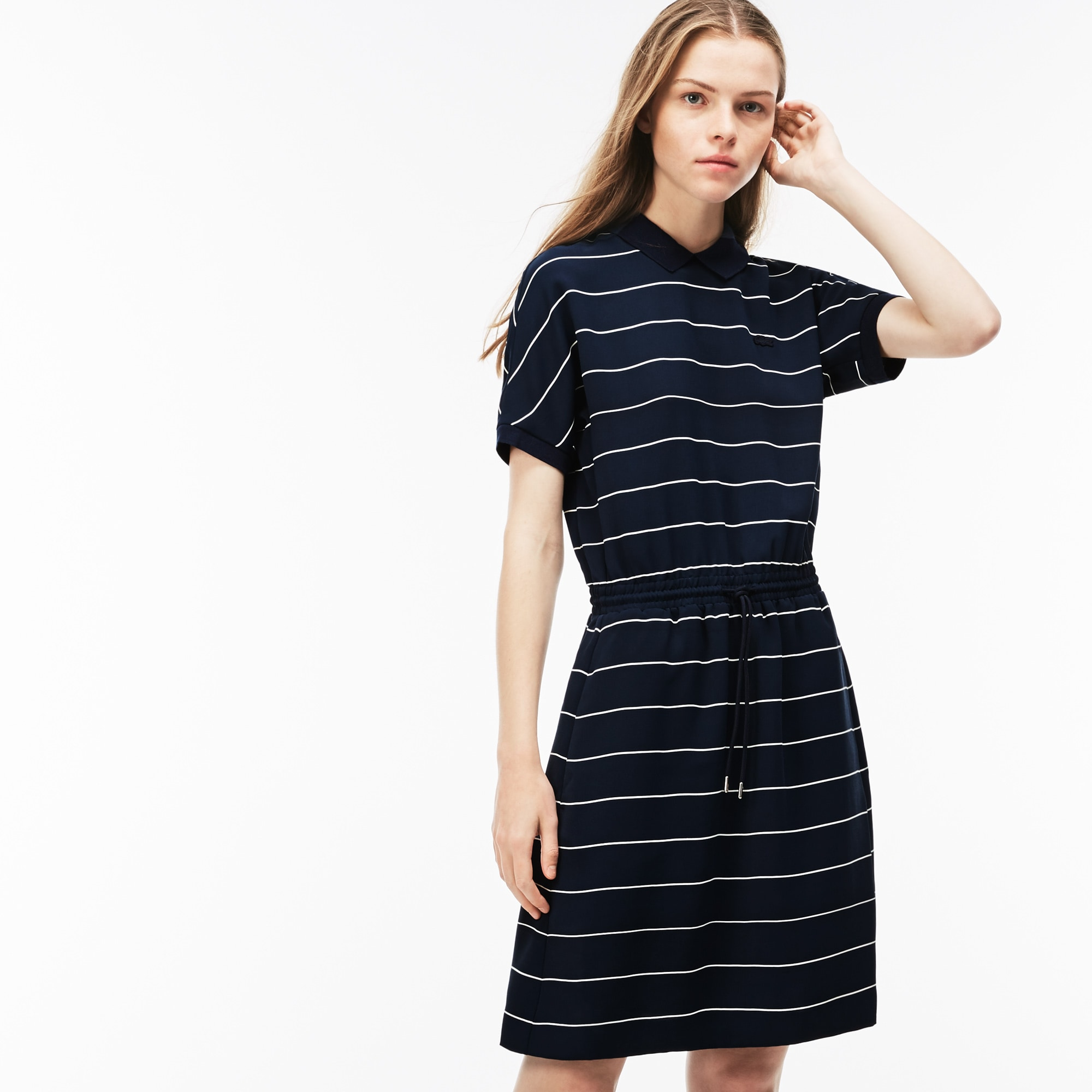Women's Elasticised Waistband Flowing Striped Cady Knit Polo Dress