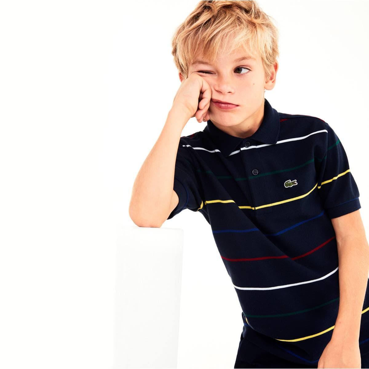 151c03cf Boys' Lacoste Coloured Pinstripes Cotton Piqué Polo Shirt