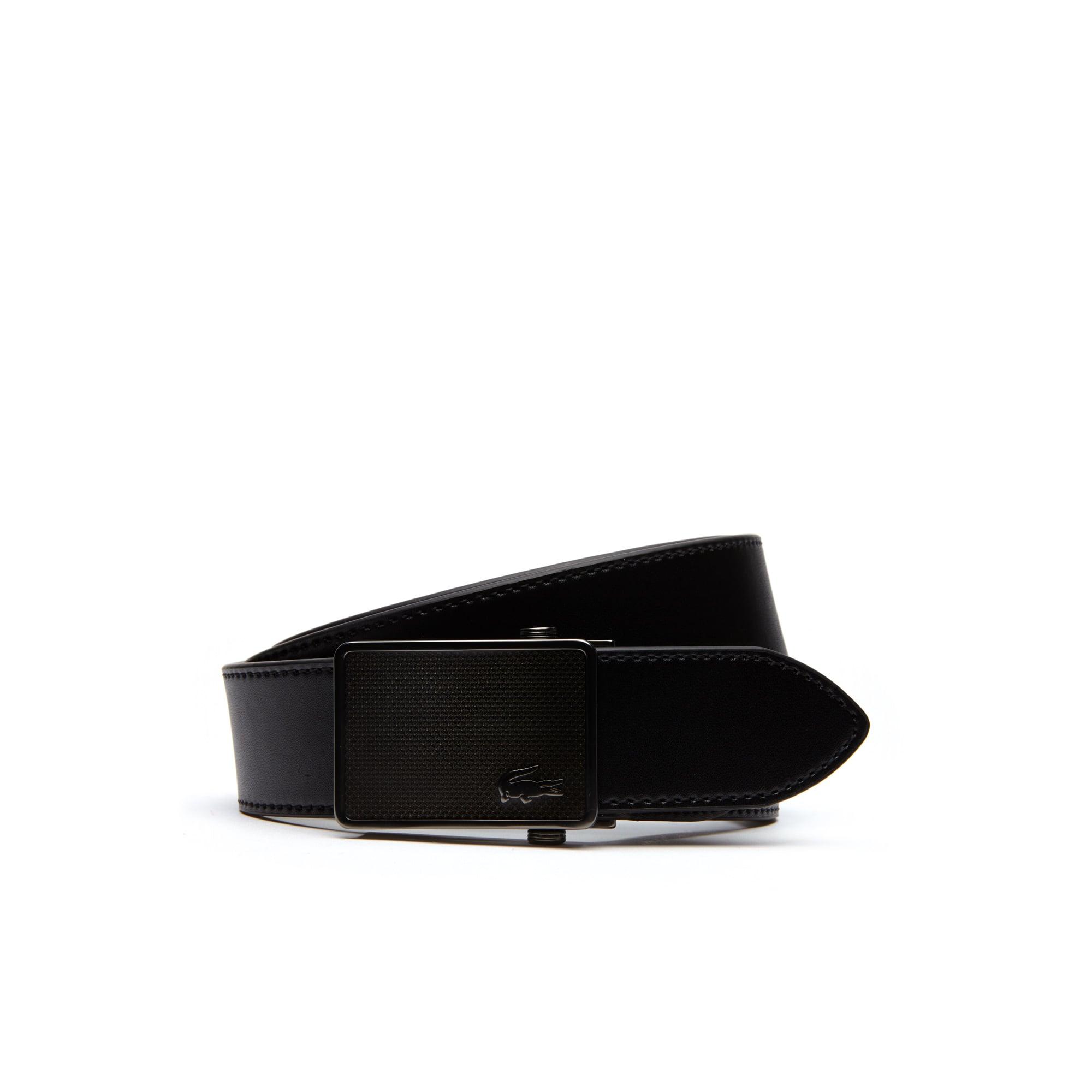 Men's Petit Piqué Engraved Plate Buckle Leather Belt