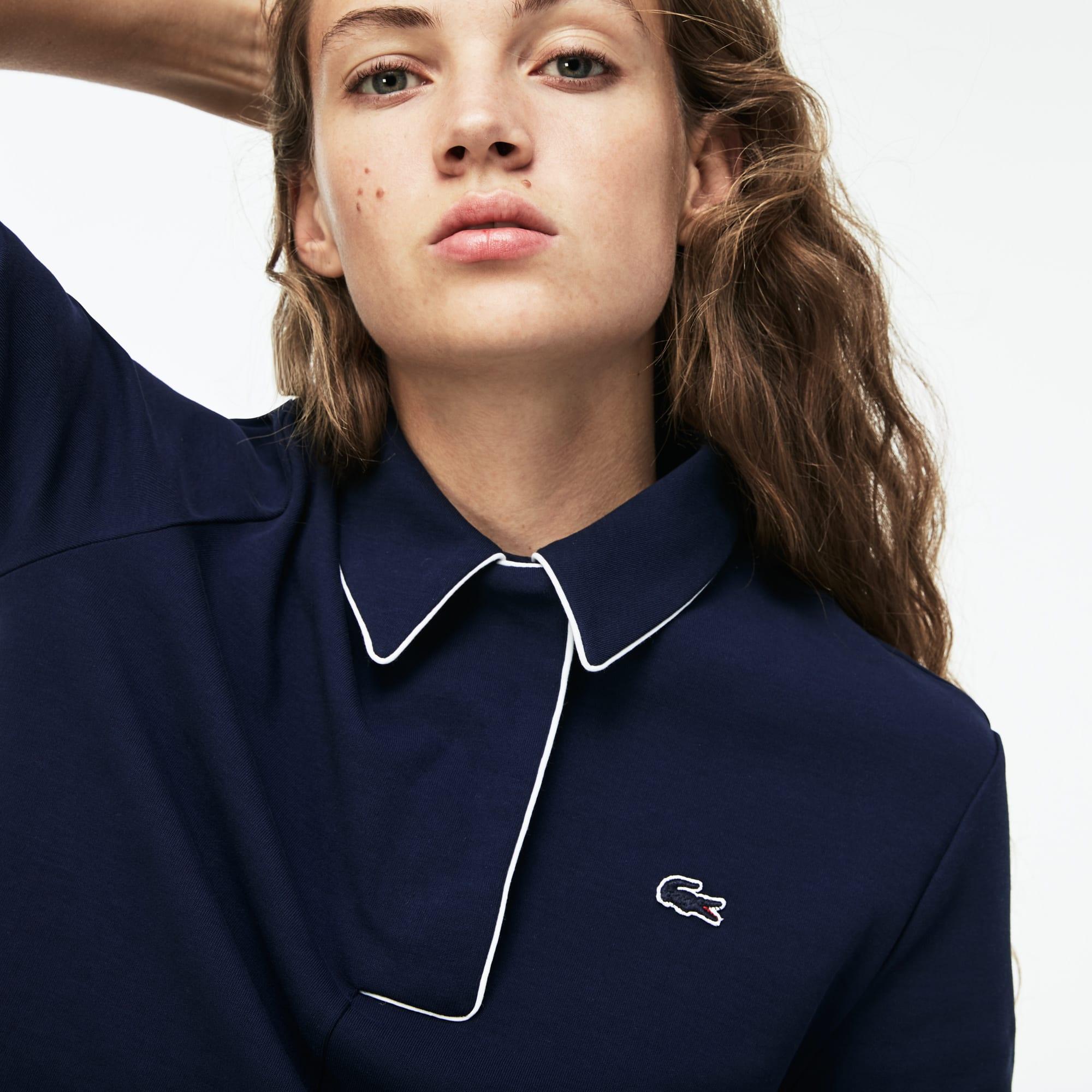 Women's Lacoste Piped Interlock Crepe Polo Shirt