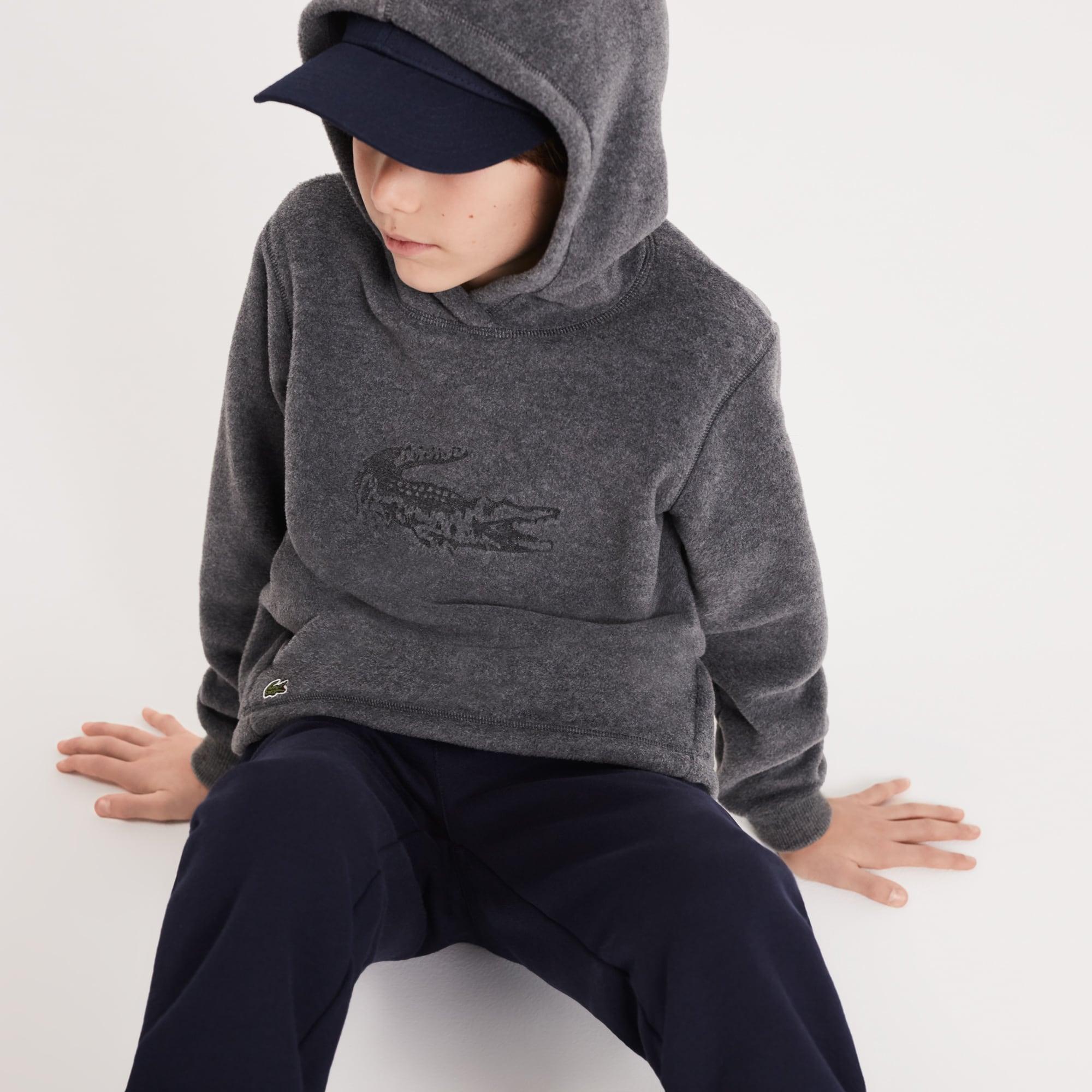 Boys' Oversized Crocodile Hooded Fleece Sweatshirt