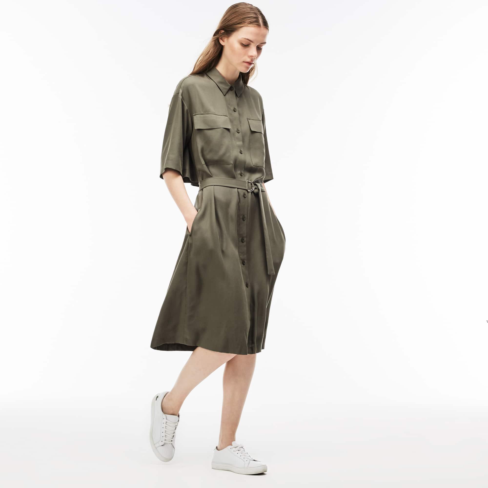 Women's Belted Piqué Shirt Dress